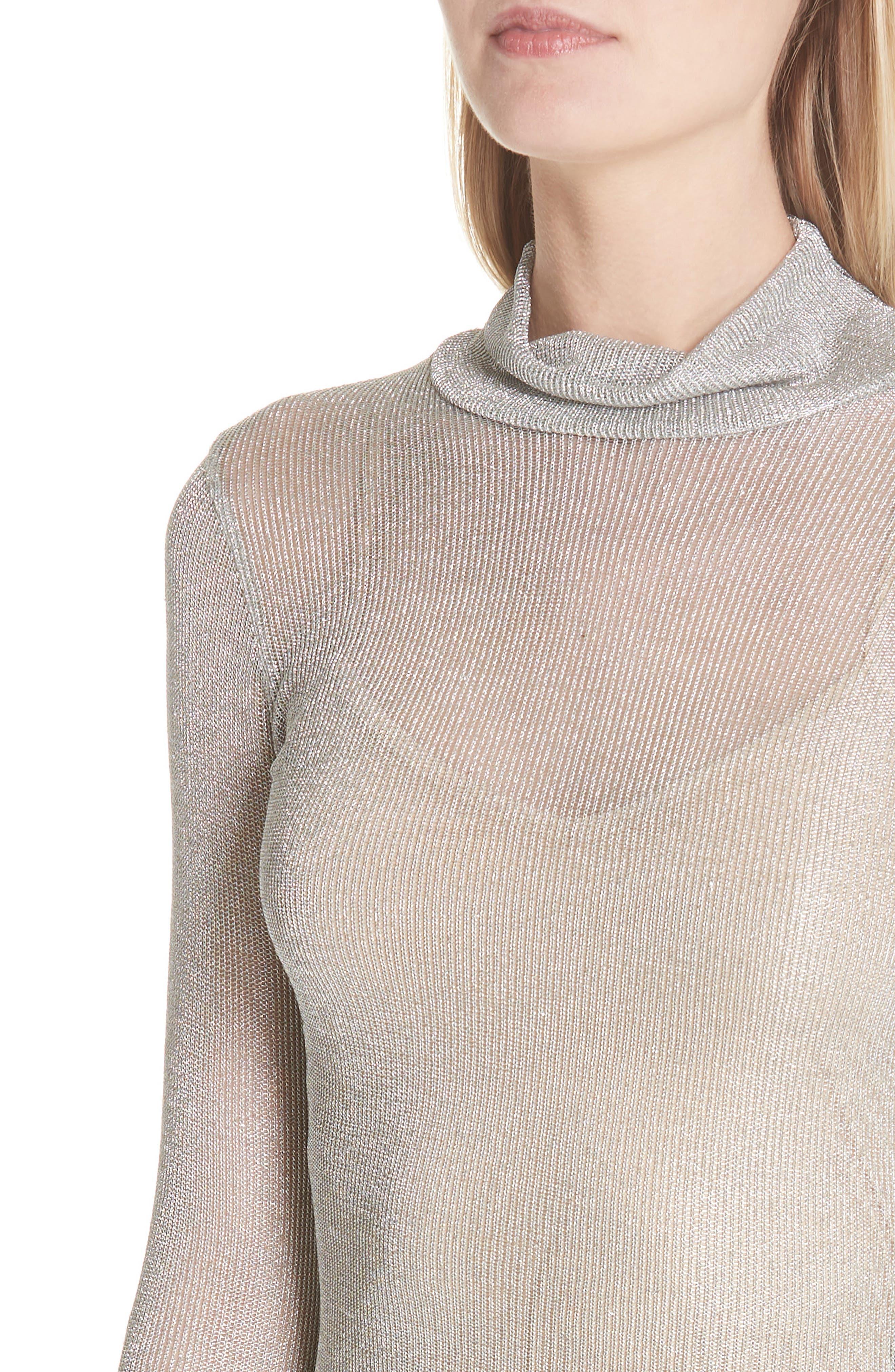 Metallic Rib Turtleneck Dress,                             Alternate thumbnail 4, color,                             SM - SILVER MESH