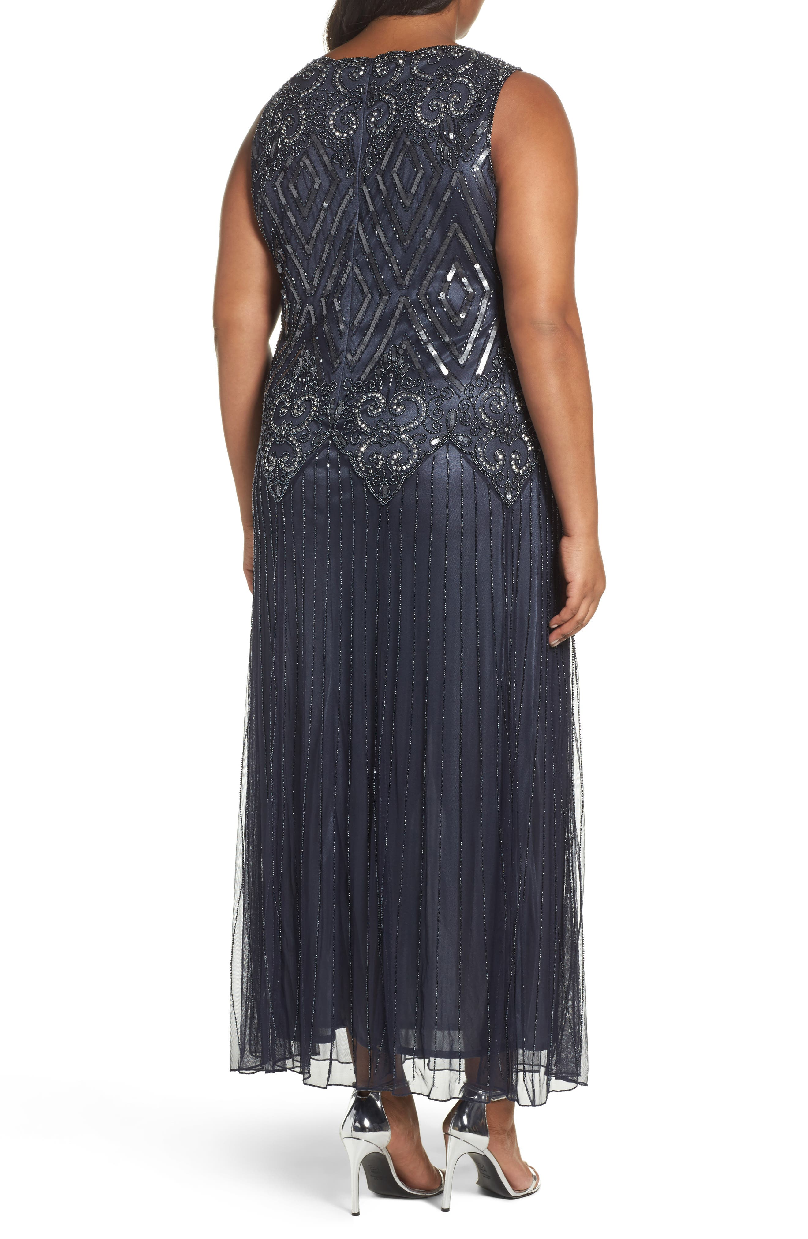 Beaded Chiffon Gown,                             Alternate thumbnail 2, color,                             021