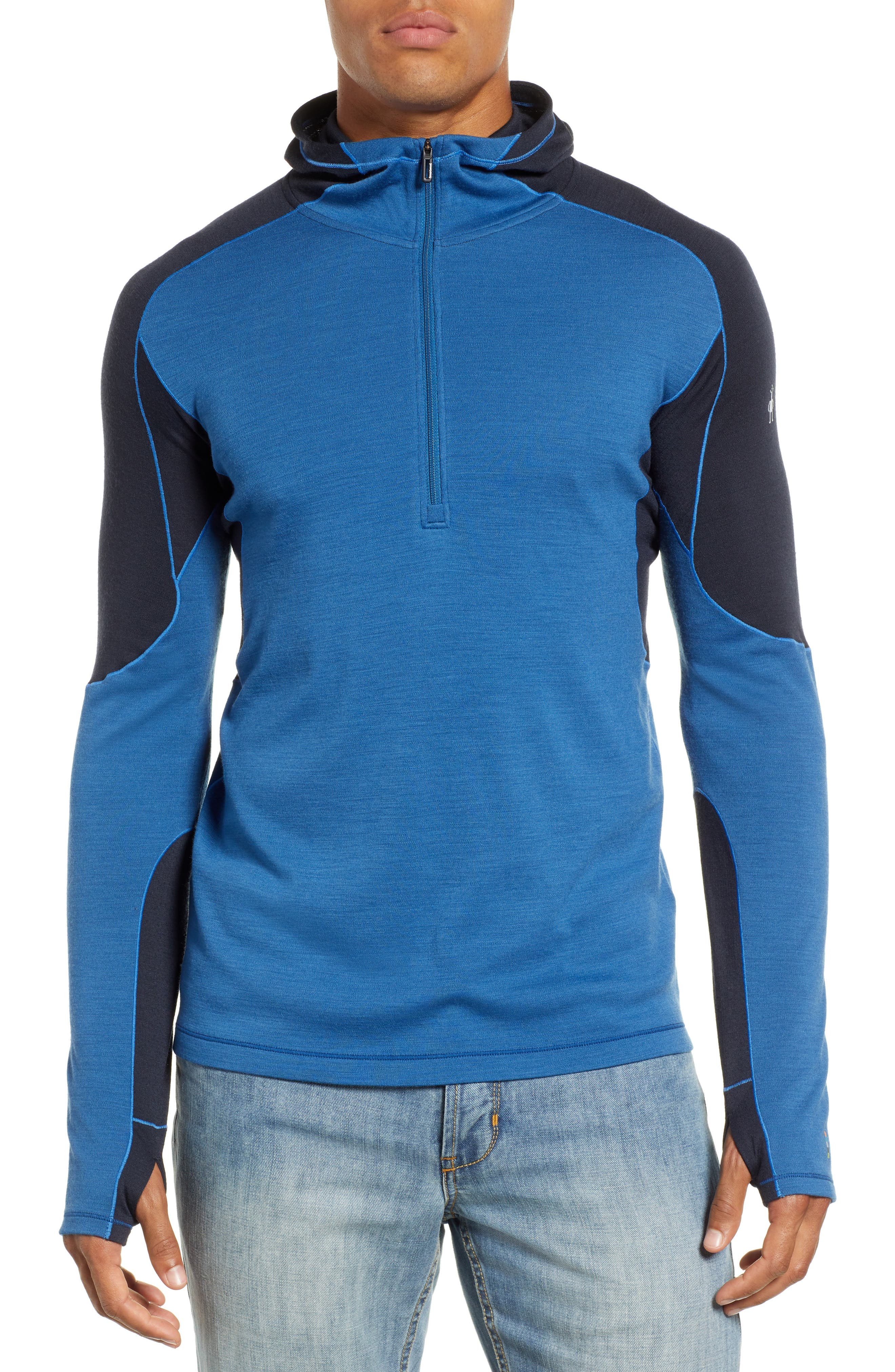 PhD<sup>®</sup> Light Merino Wool Blend Hooded Pullover,                             Main thumbnail 1, color,                             BRIGHT COBALT HEATHER