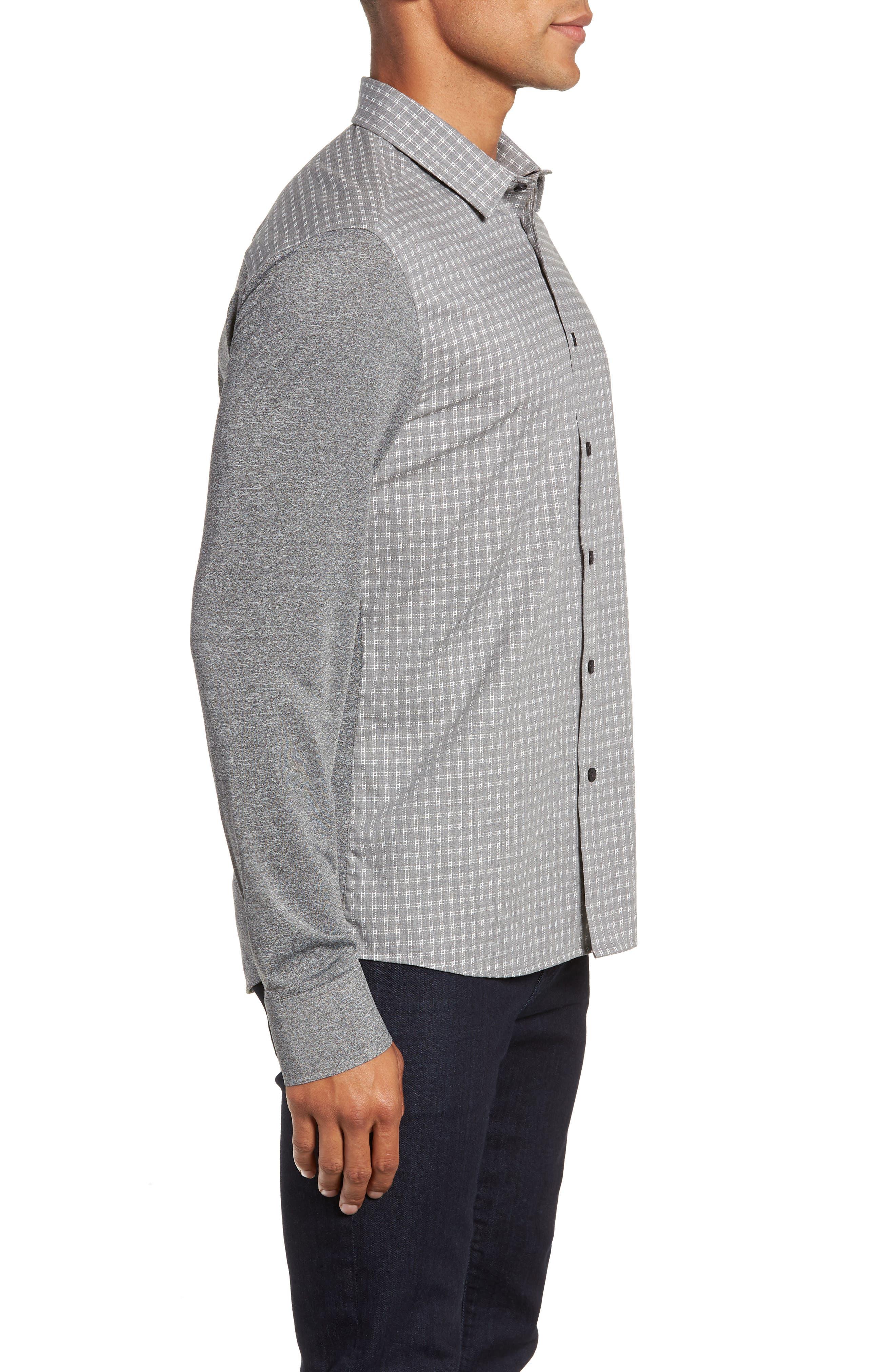 VINCE CAMUTO,                             Slim Fit Mixed Media Sport Shirt,                             Alternate thumbnail 4, color,                             034