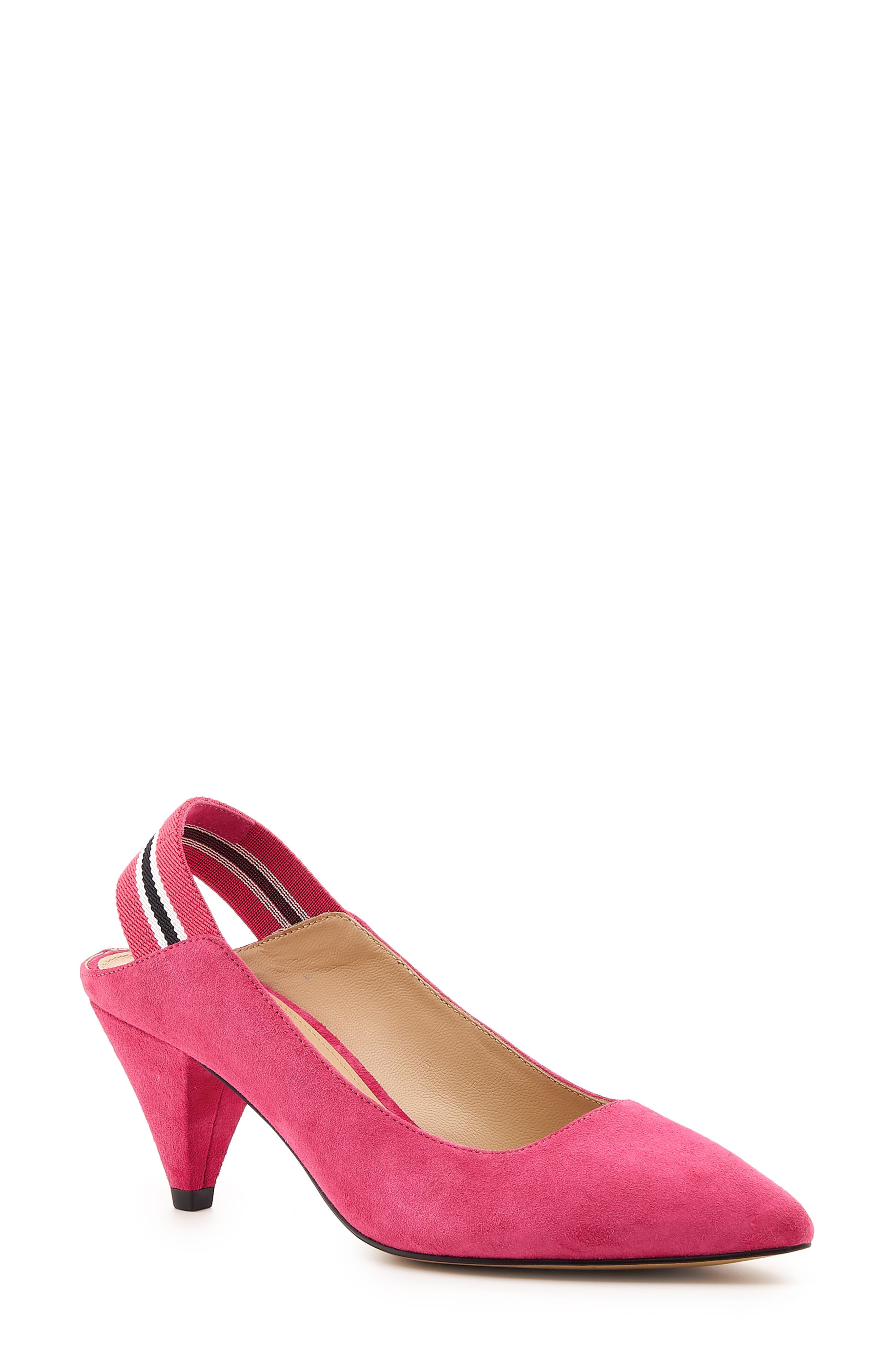 Women'S Cobble Hill Cone Heel Suede Slingback Pumps in Party Pink Suede