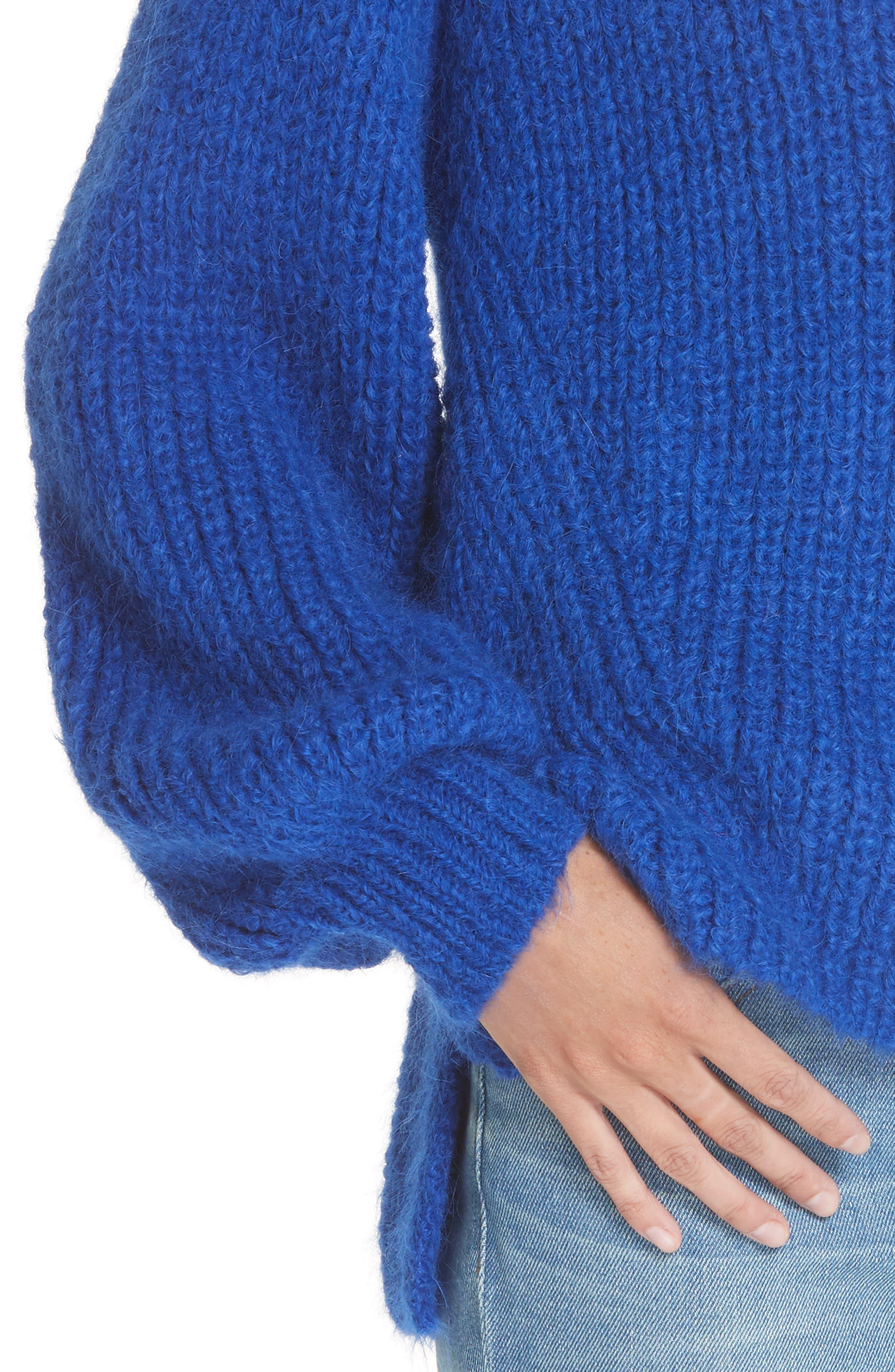 ELEVEN SIX,                             Tess Alpaca & Wool Blend Sweater,                             Alternate thumbnail 4, color,                             COLBOLT BLUE