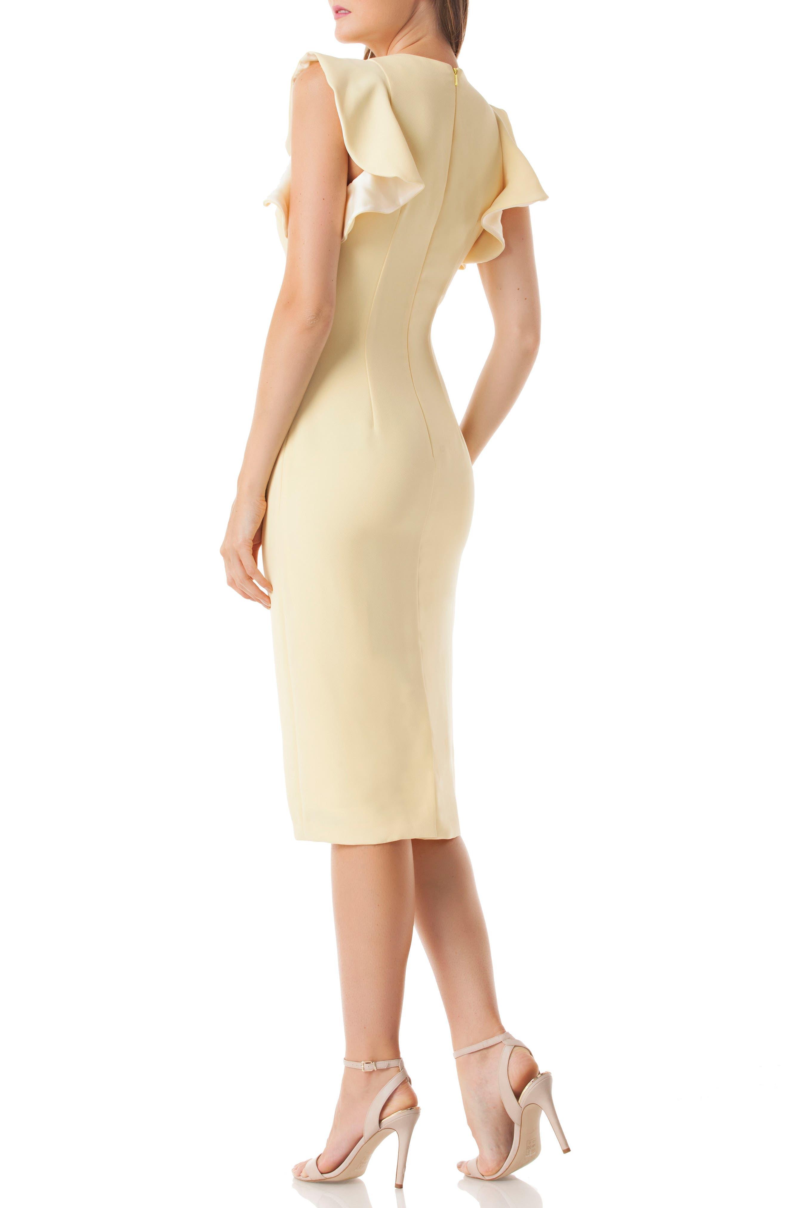 Ruffle Crepe Sheath Dress,                             Alternate thumbnail 2, color,                             YELLOW
