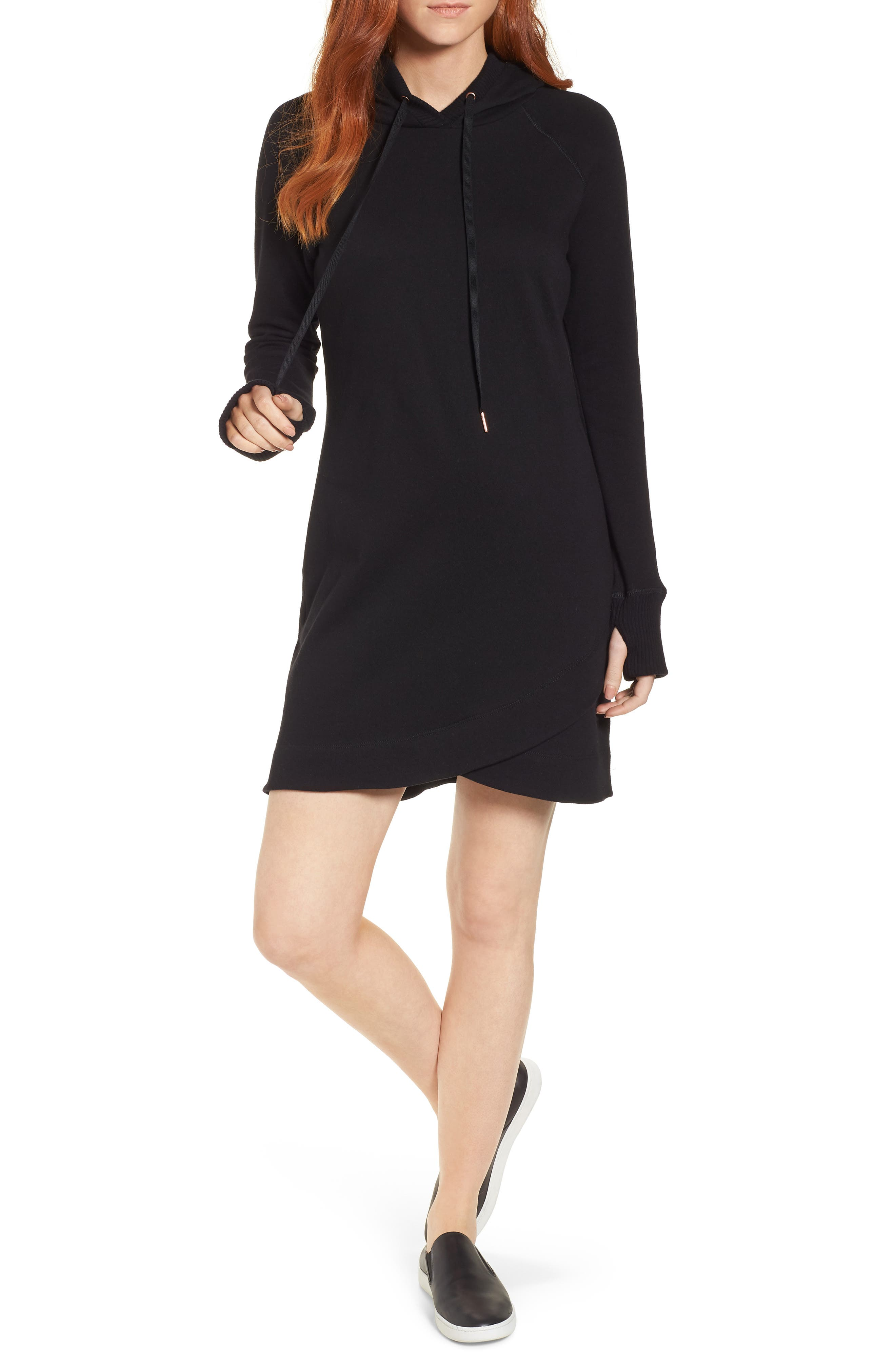 Off-Duty Hooded Sweatshirt Dress,                         Main,                         color, 001