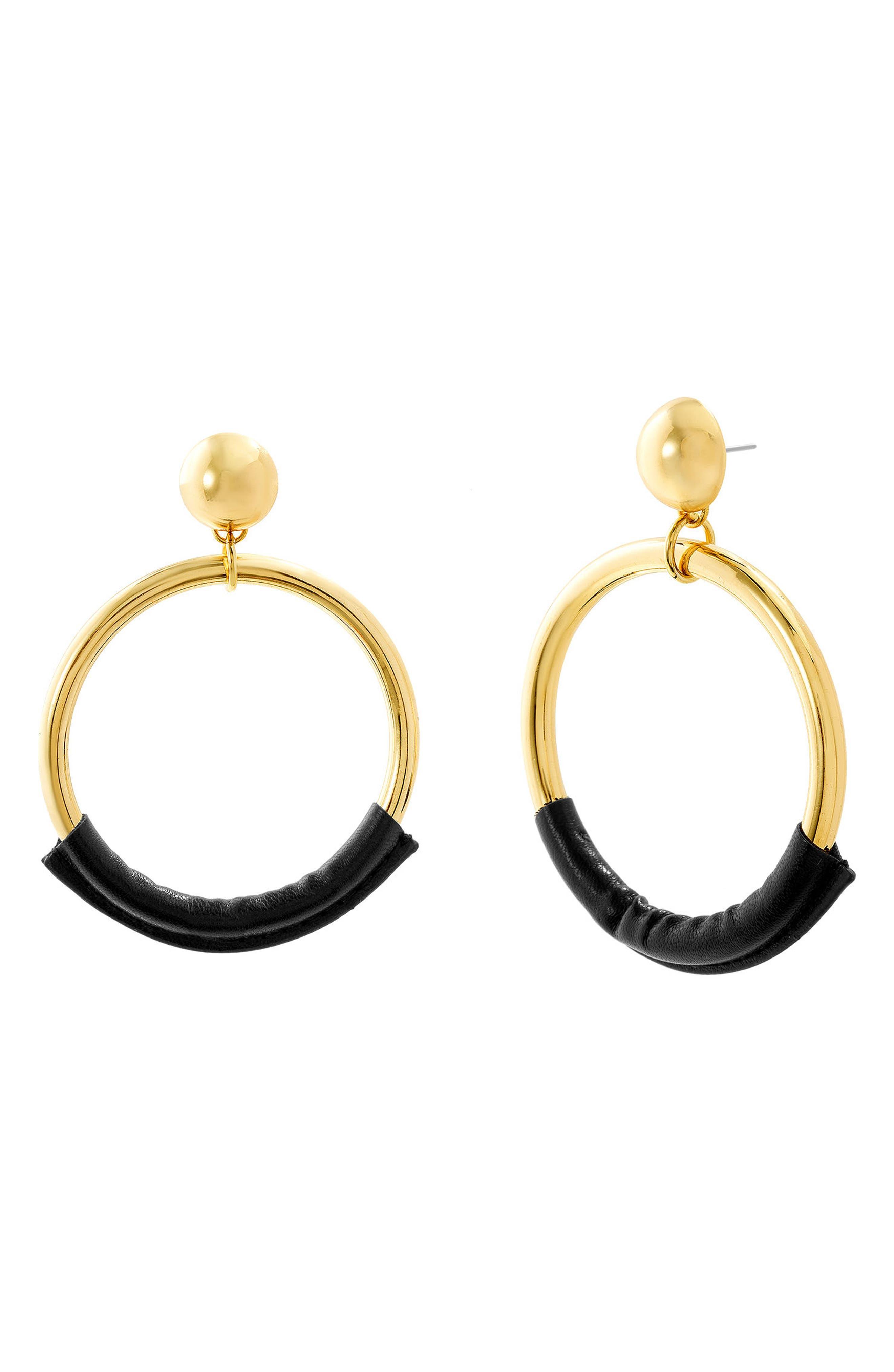 Leather Trim Hoop Earrings,                         Main,                         color, 710