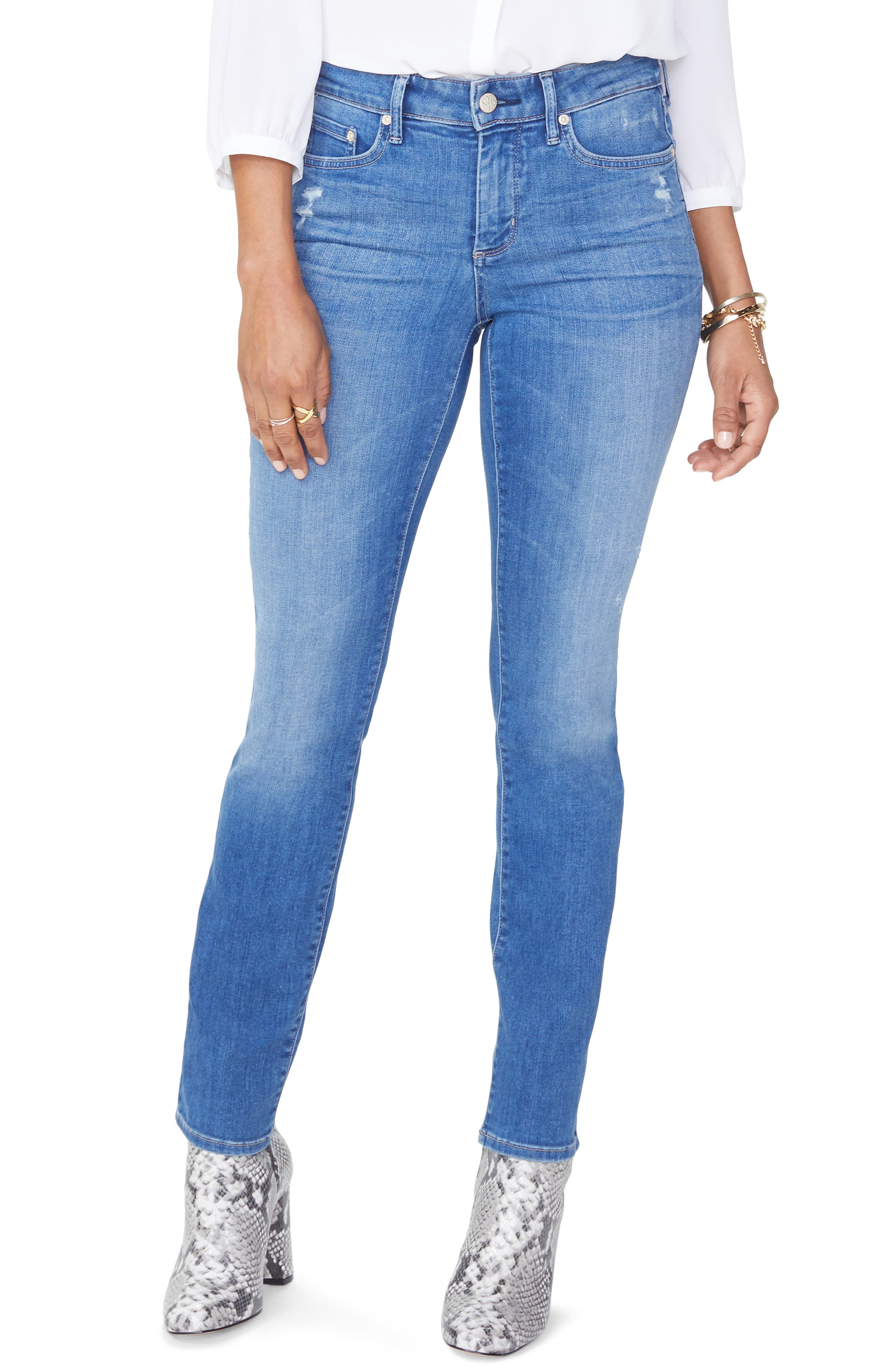Sheri High Waist Ripped Slim Stretch Ankle Jeans,                             Main thumbnail 1, color,                             428