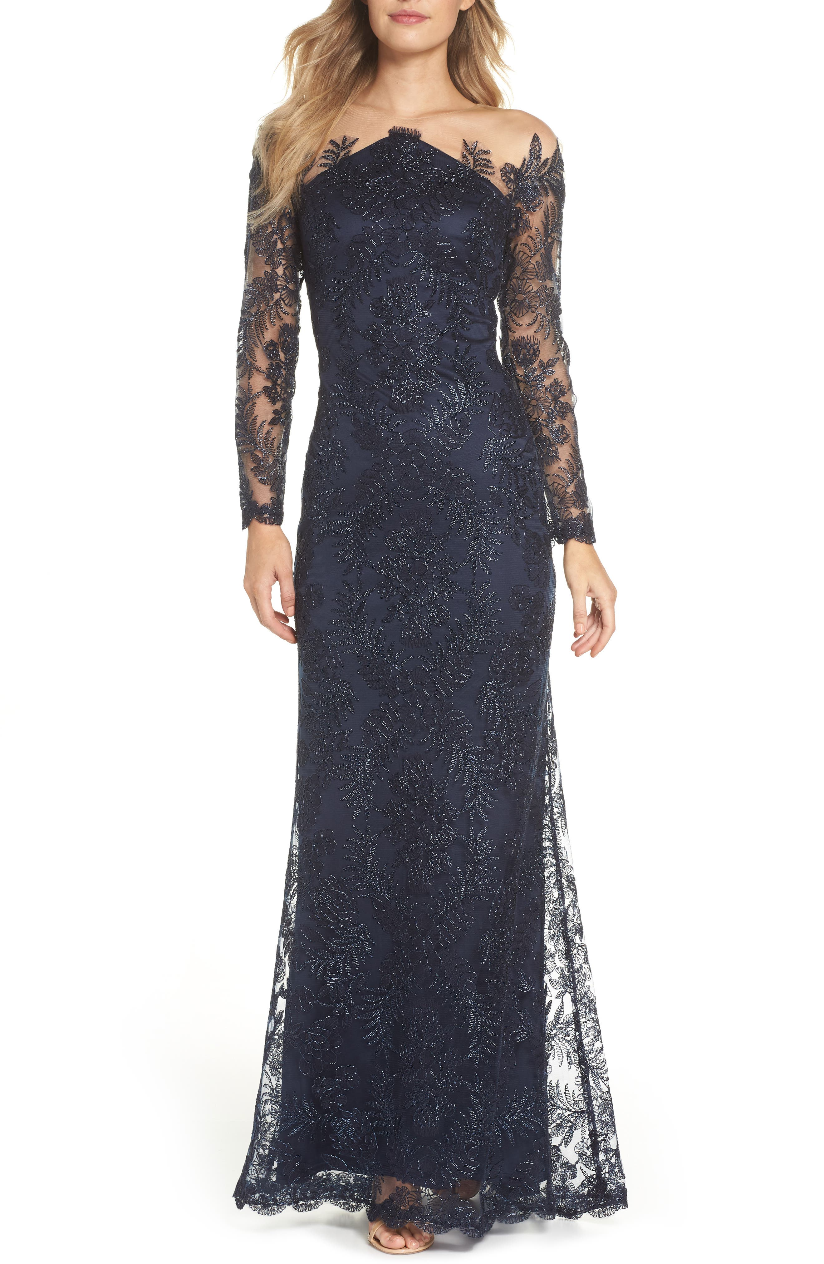 Embroidered Off the Shoulder Lace Gown,                             Main thumbnail 1, color,                             NAVY