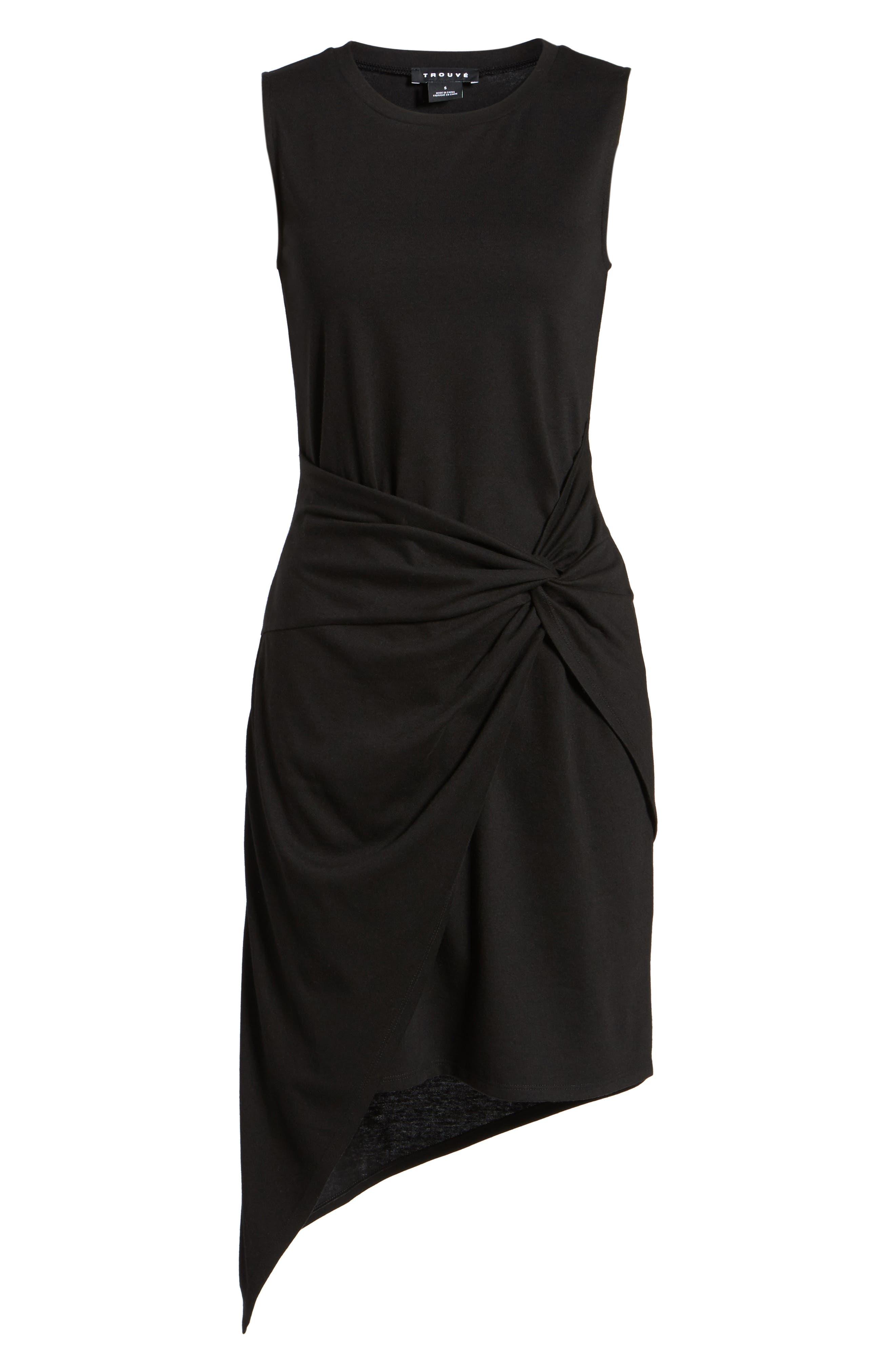 Twist Front Dress,                             Alternate thumbnail 7, color,                             BLACK