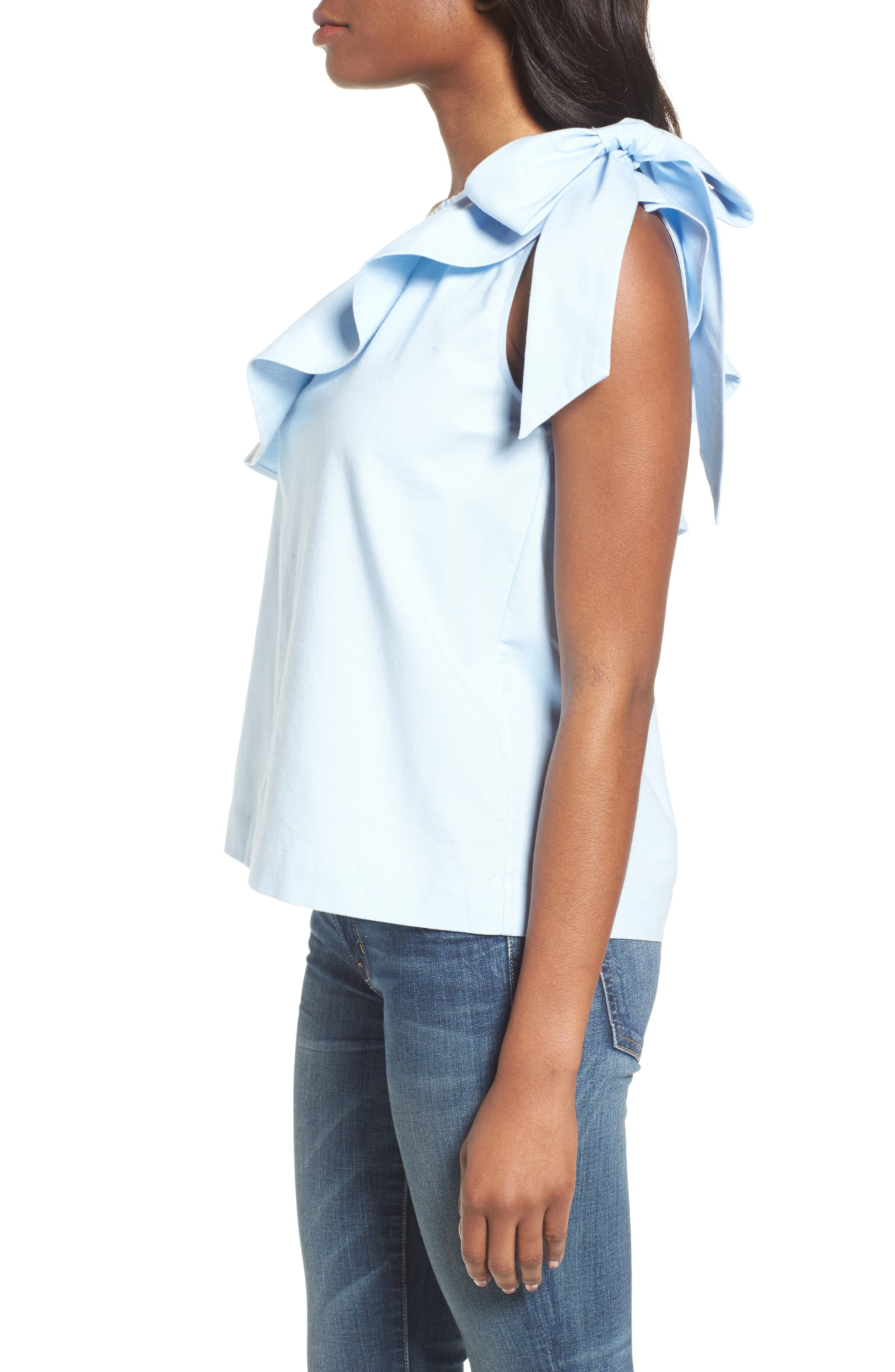 One-Shoulder Bow Top,                             Alternate thumbnail 3, color,