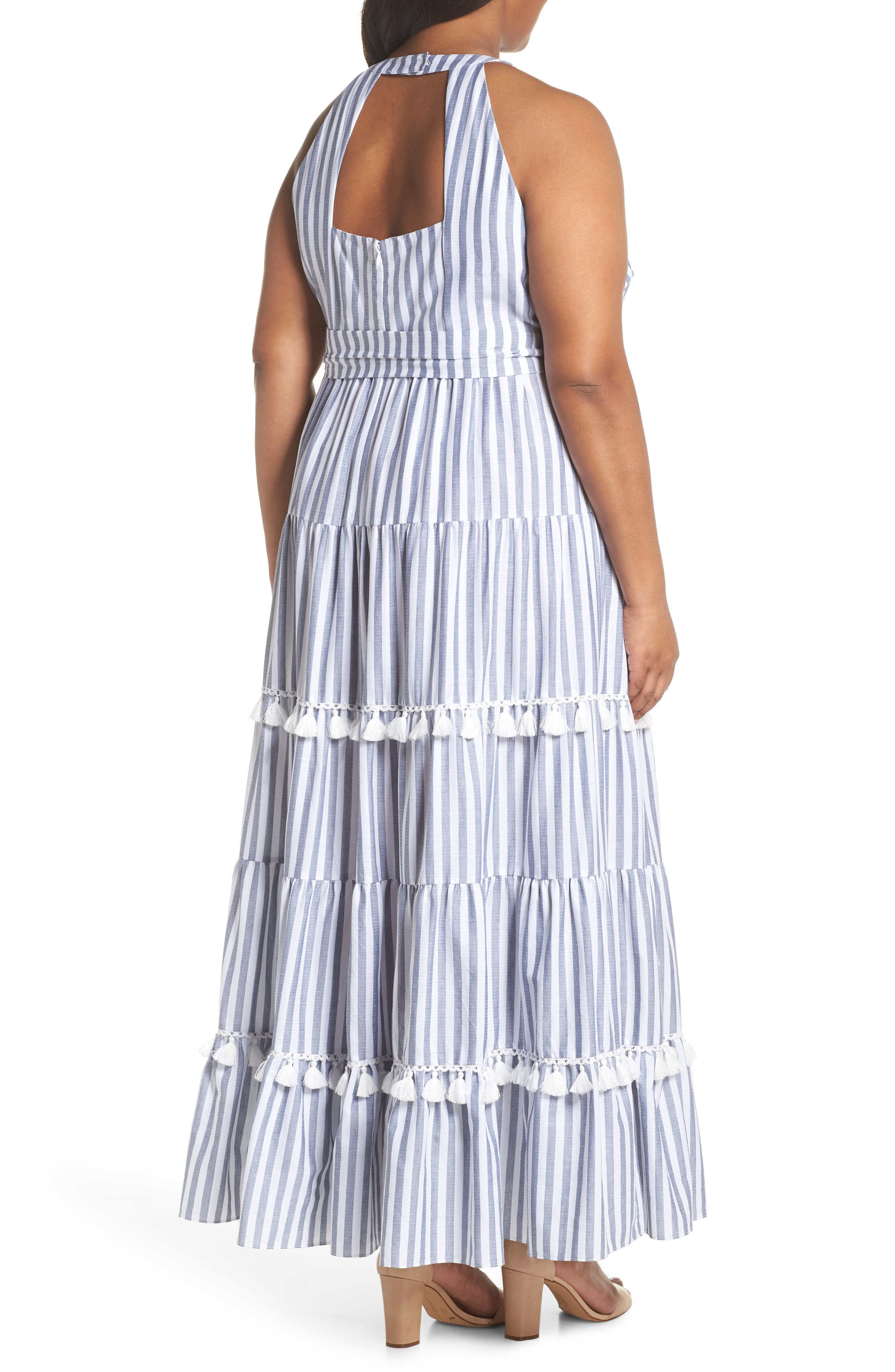 Tiered Stripe Halter Maxi Dress,                             Alternate thumbnail 2, color,                             IVORY