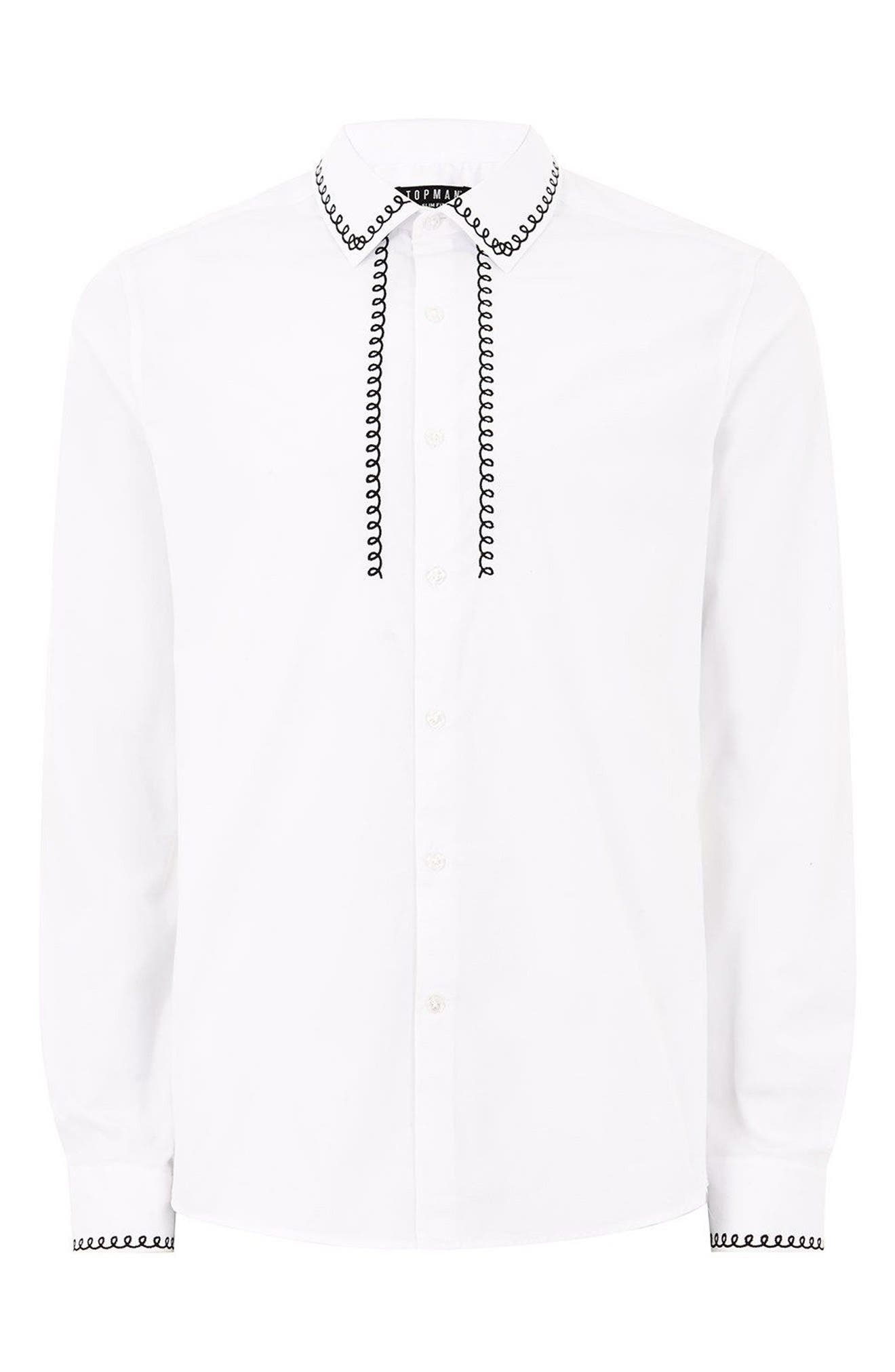 Phone Cable Dress Shirt,                             Alternate thumbnail 4, color,                             100