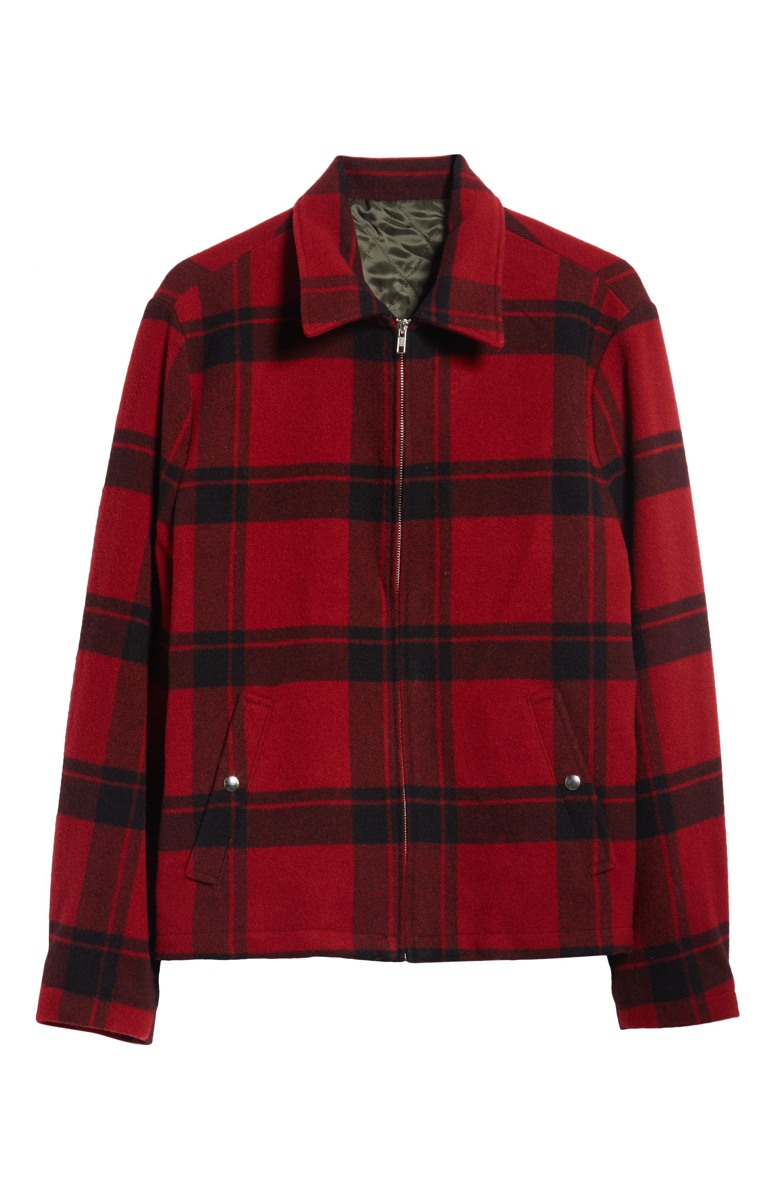 Classic Fit Plaid Wool Trapper Jacket,                             Alternate thumbnail 5, color,                             RED/ BLACK