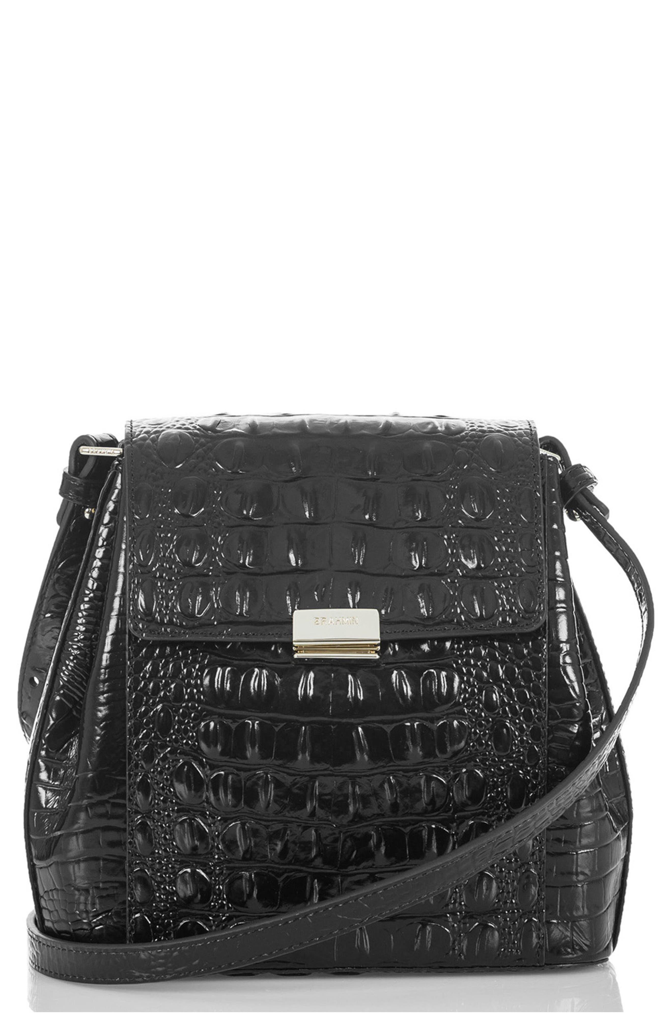 Margo Croc Embossed Leather Crossbody Bag,                             Main thumbnail 1, color,                             BLACK