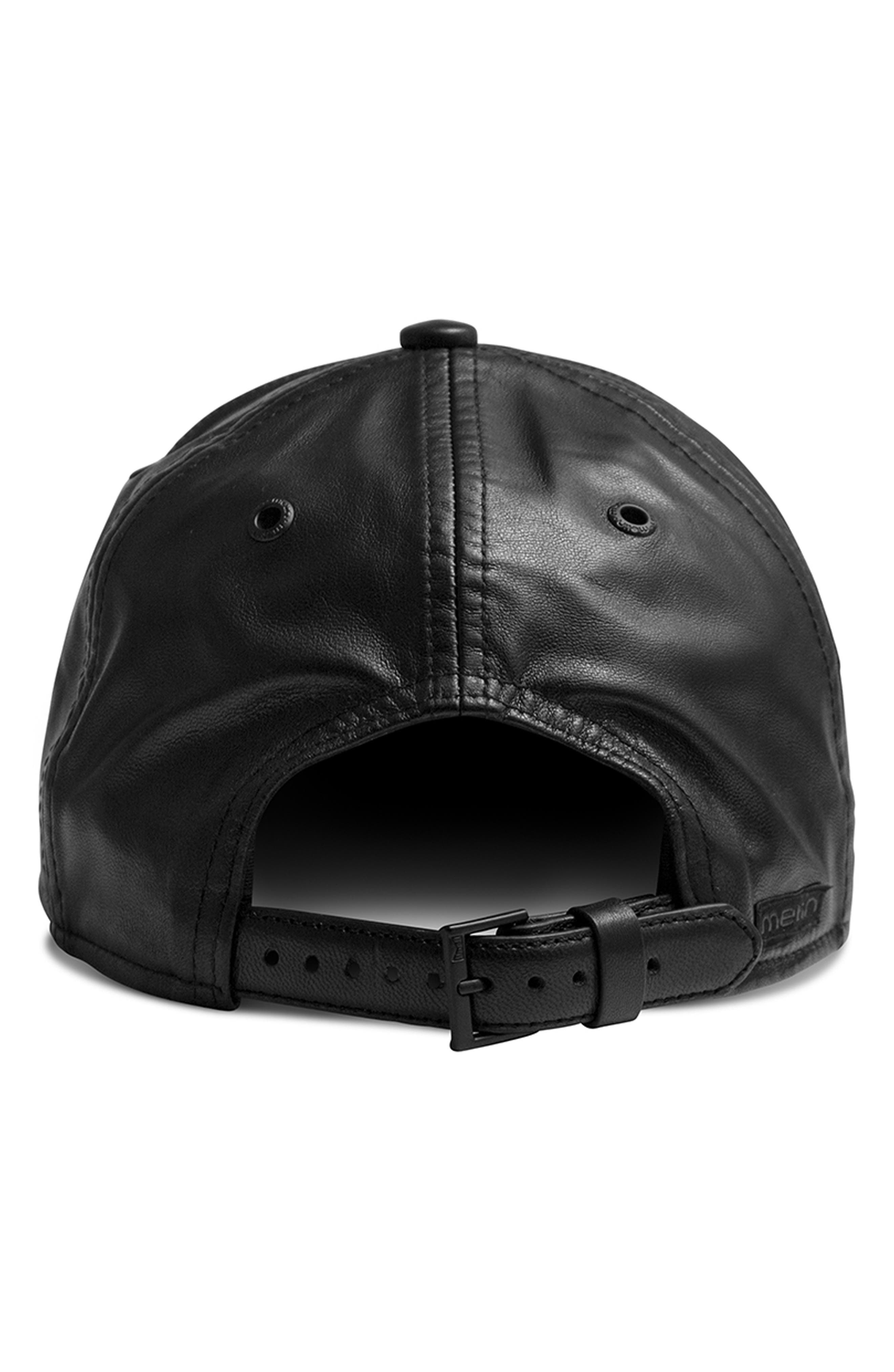 Voyage Elite Leather Ball Cap,                             Alternate thumbnail 3, color,                             BLACK