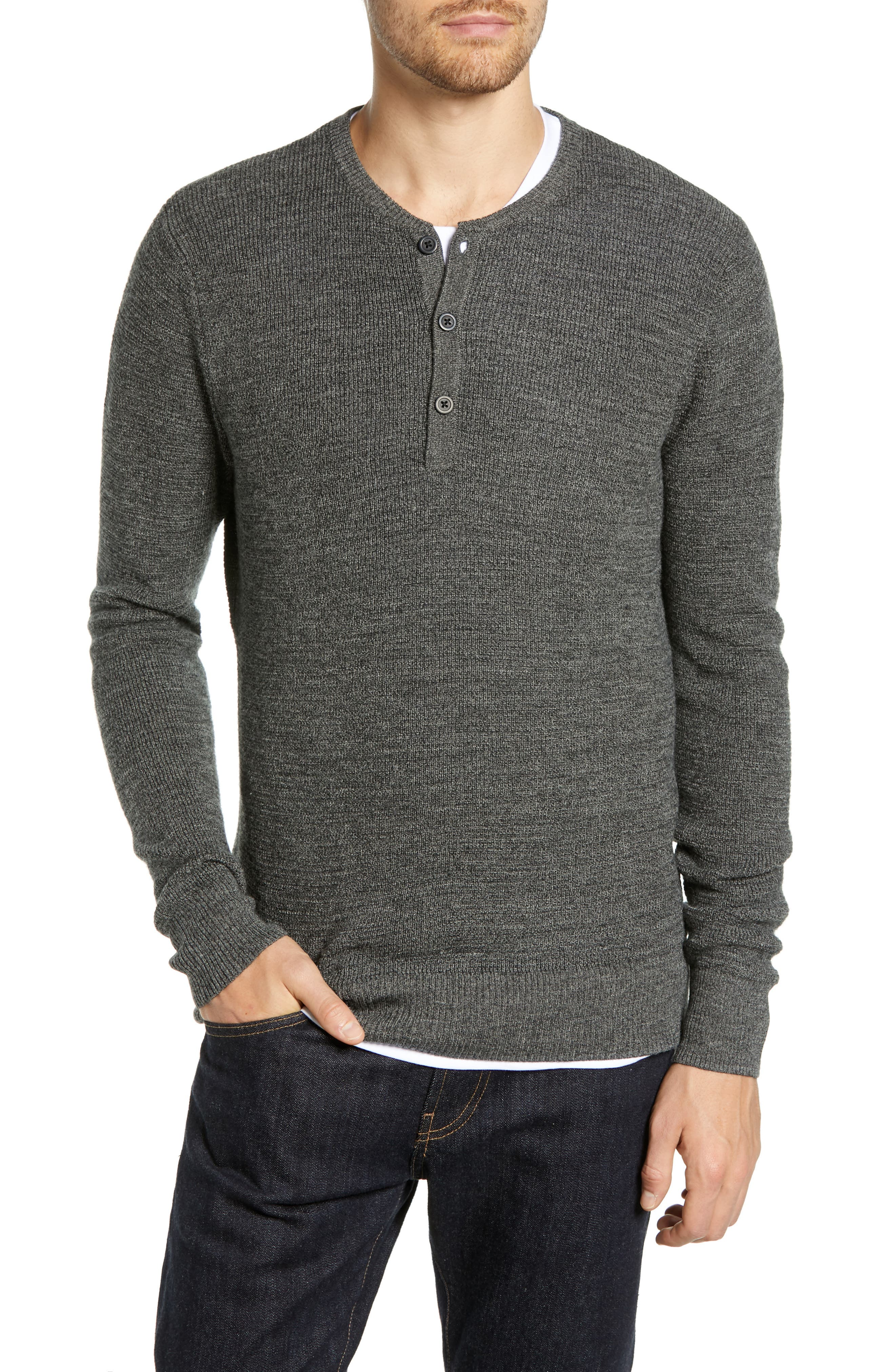 Merino Wool Blend Thermal Henley,                         Main,                         color, GREY PHANTOM