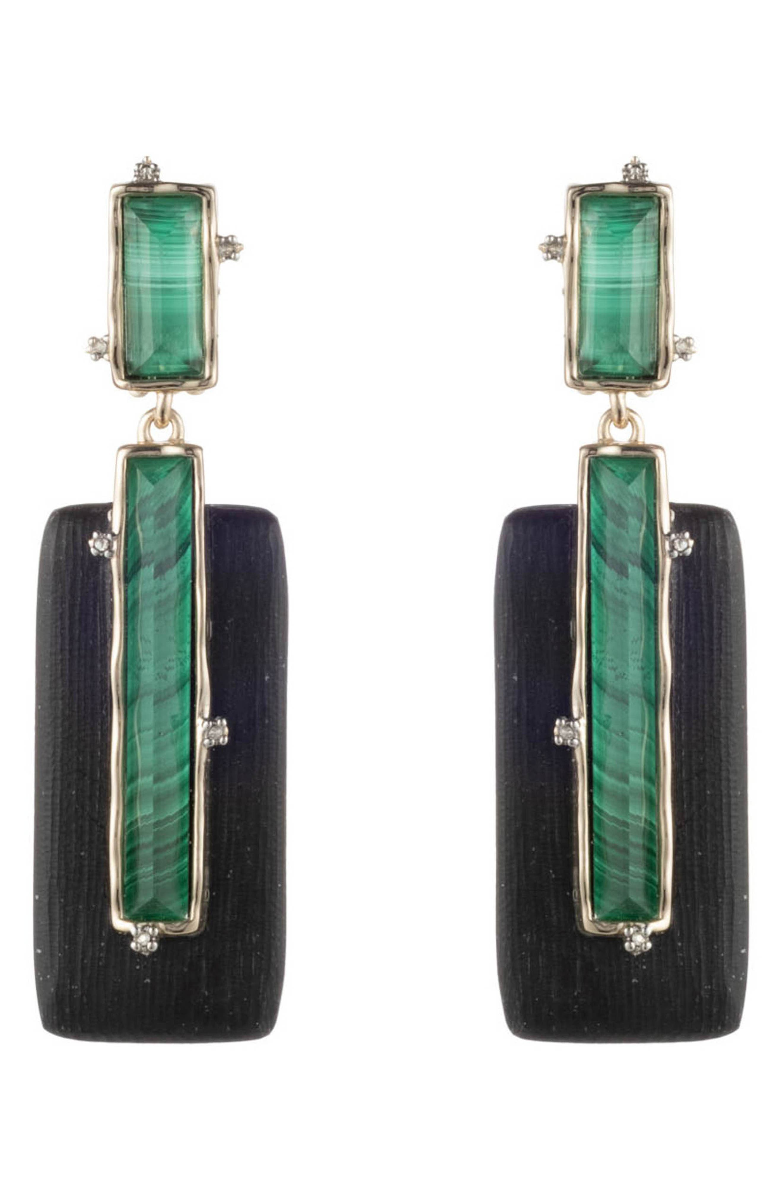 Retro Gold Collection Stone Studded Clip Earrings,                         Main,                         color, BLACK