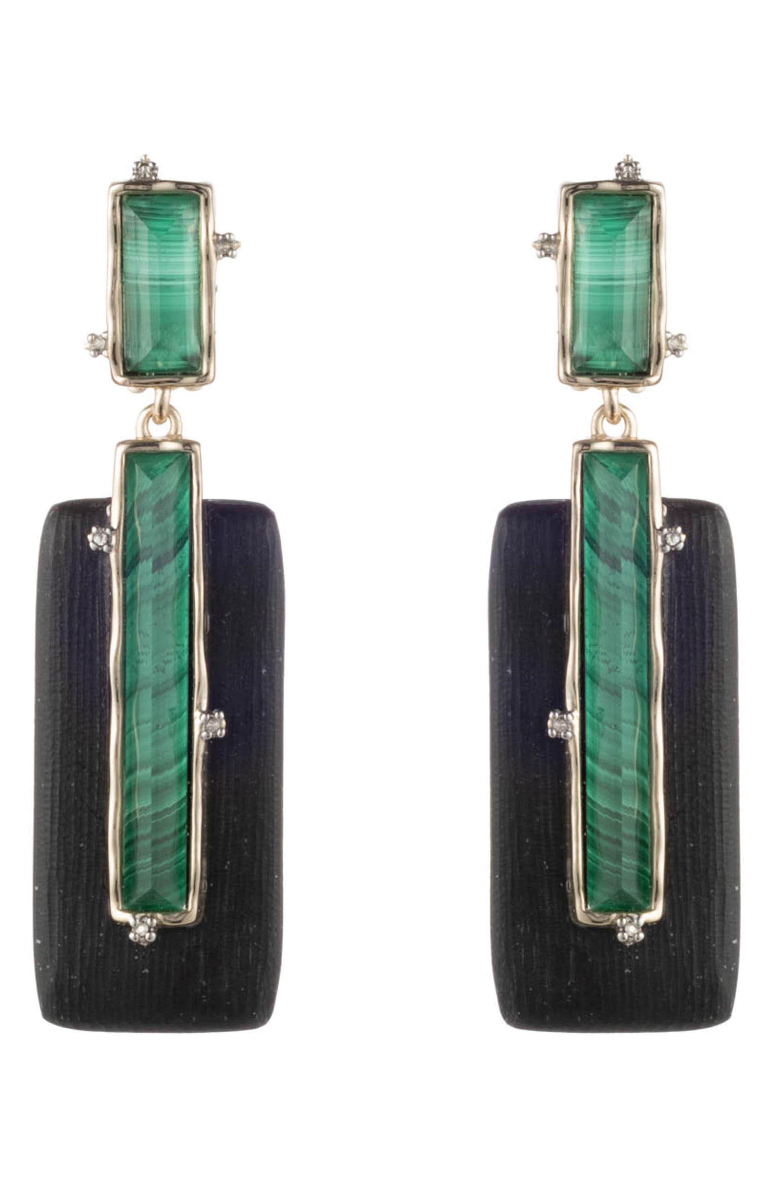 ALEXIS BITTAR Swarovski Crystal & Multi-Stone Studded Retro Clip Earrings in Black