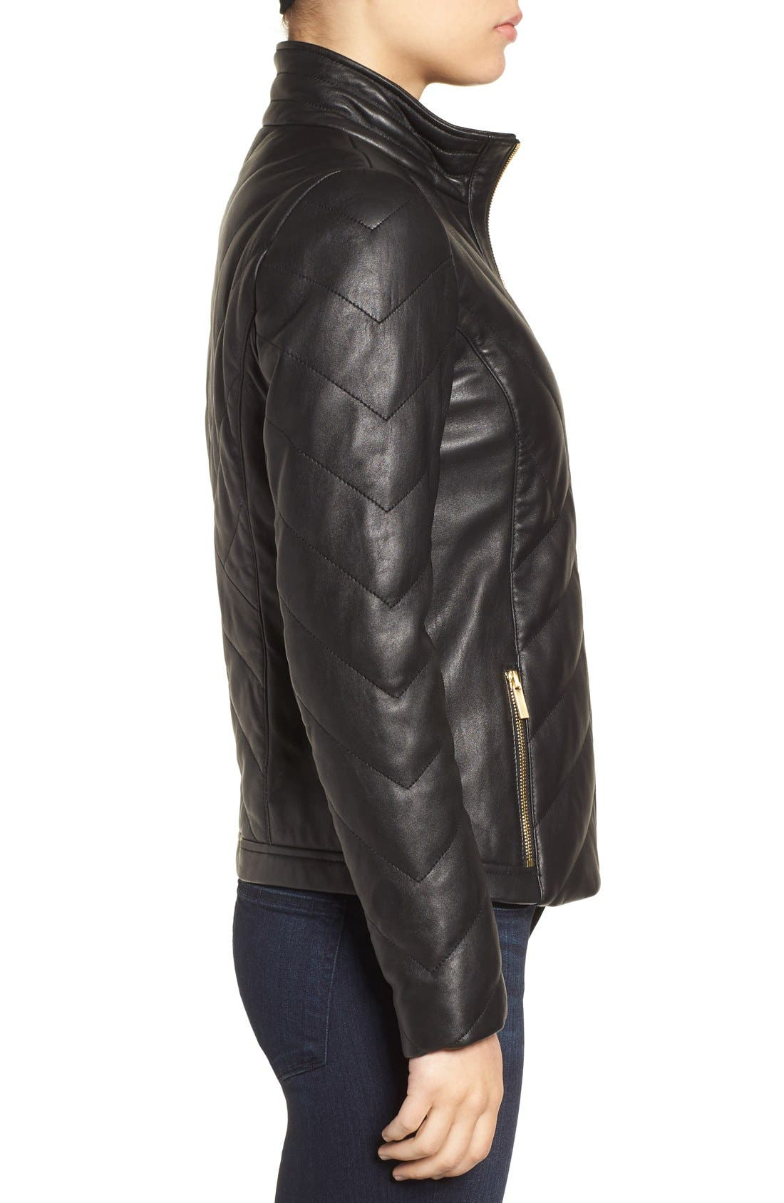 Badgley Mischka Eloise Quilted Leather Moto Jacket,                             Alternate thumbnail 5, color,                             001