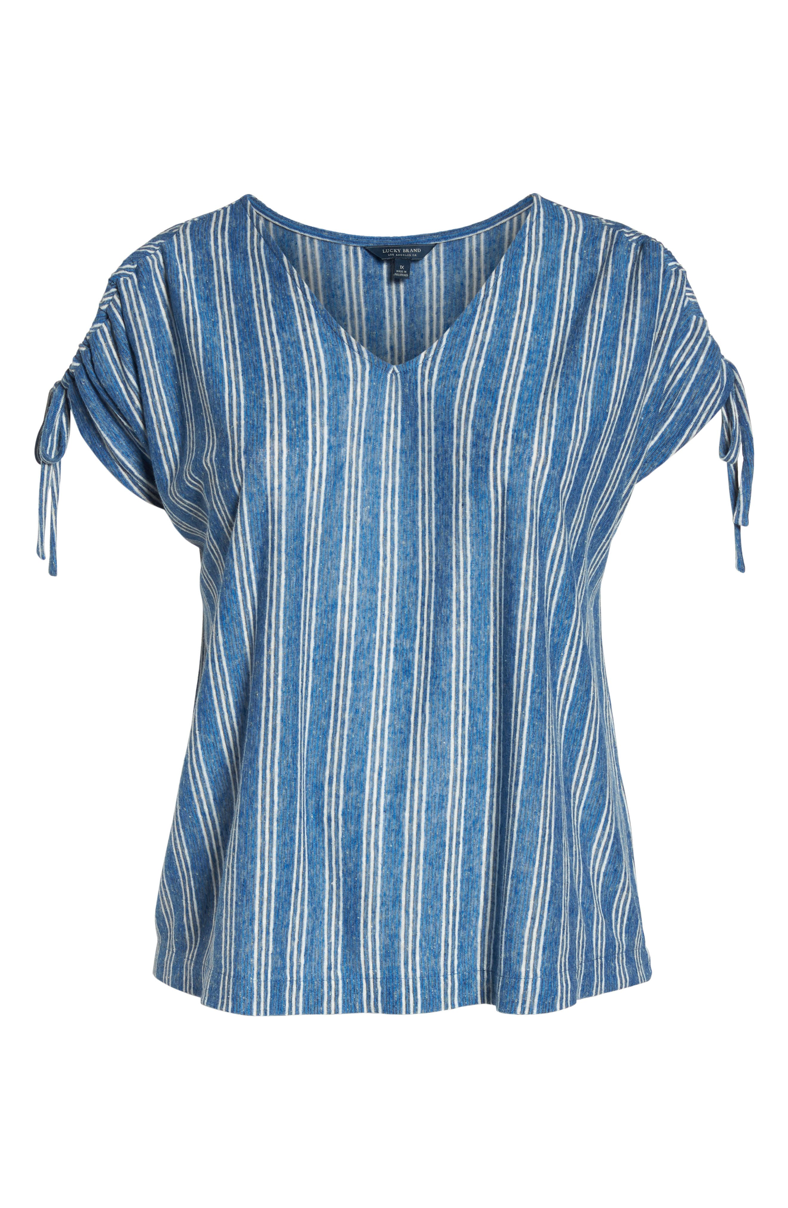Stripe Tie Shoulder Linen Blend Tee,                             Alternate thumbnail 7, color,                             460