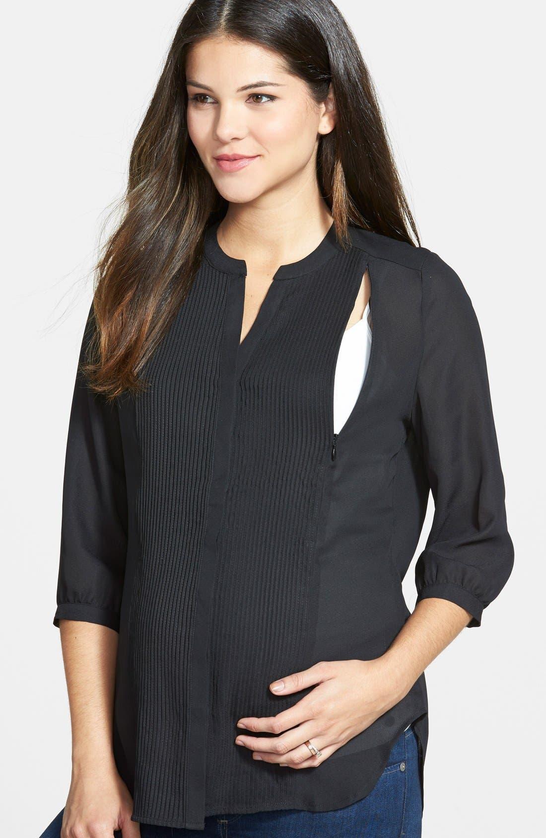'Audrey' Maternity/Nursing Tuxedo Blouse,                             Alternate thumbnail 5, color,                             BLACK