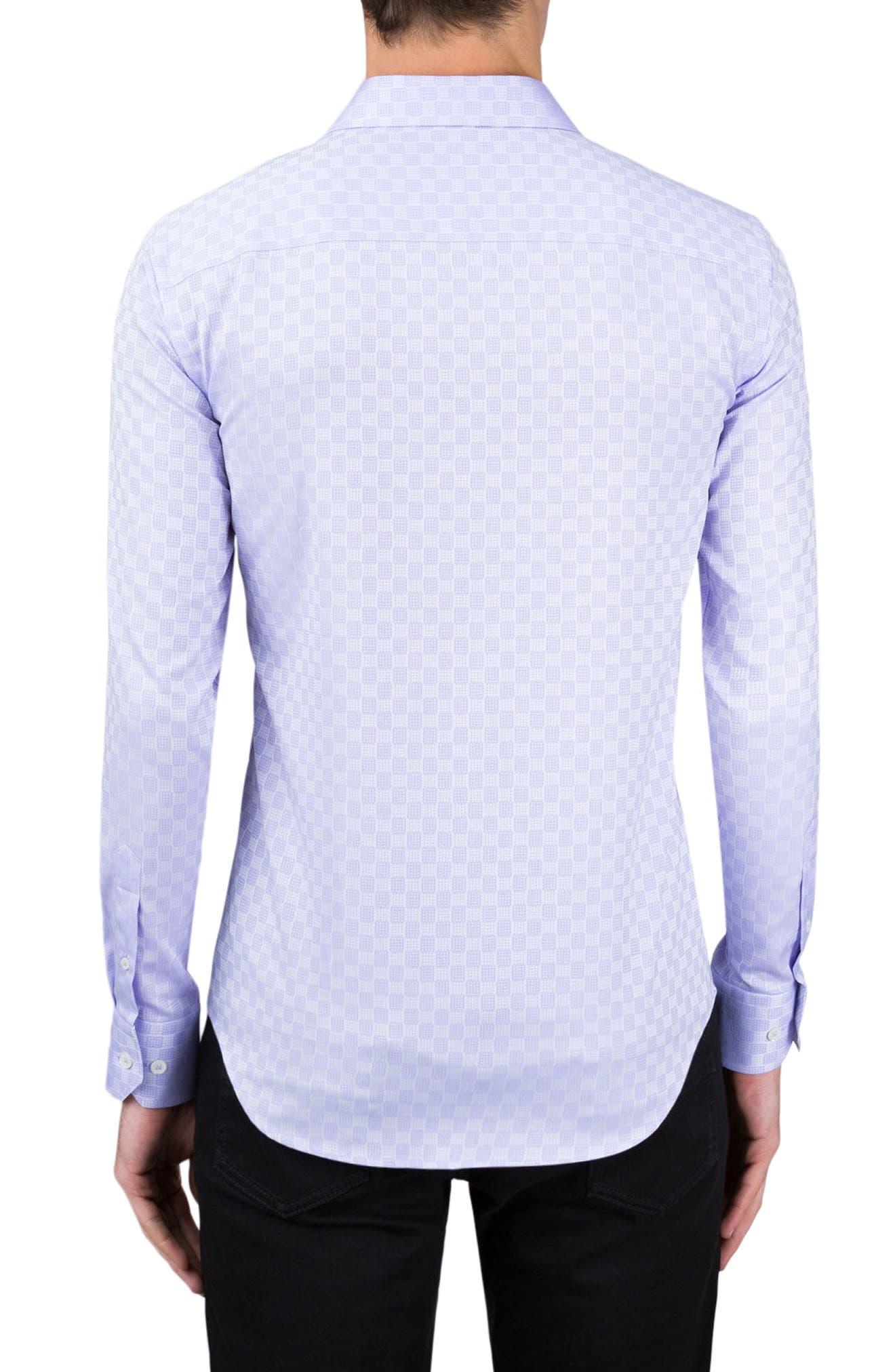 Shaped Fit Checker Print Sport Shirt,                             Alternate thumbnail 6, color,