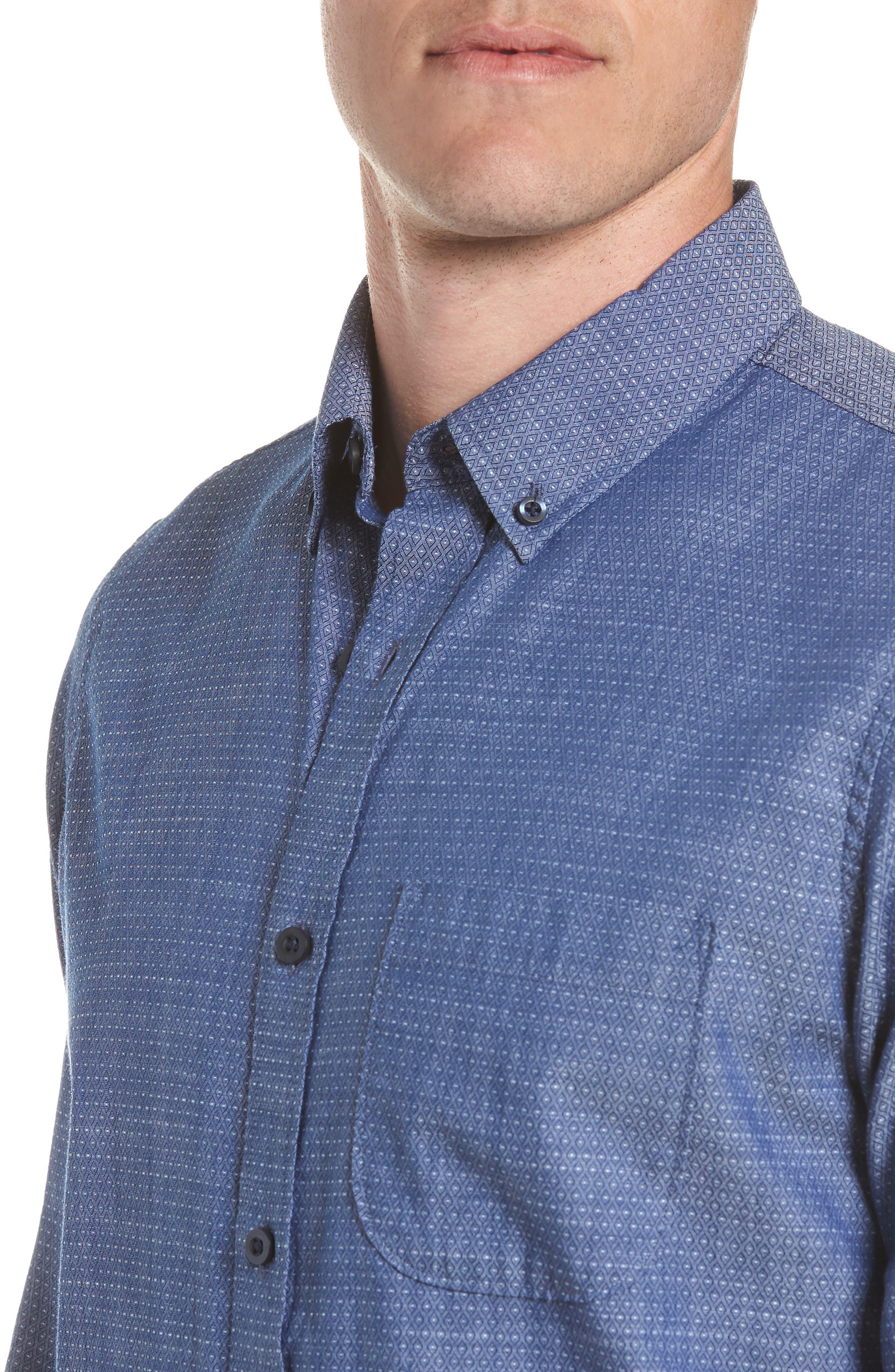 Trim Fit Jacquard Print Sport Shirt,                             Alternate thumbnail 2, color,                             410