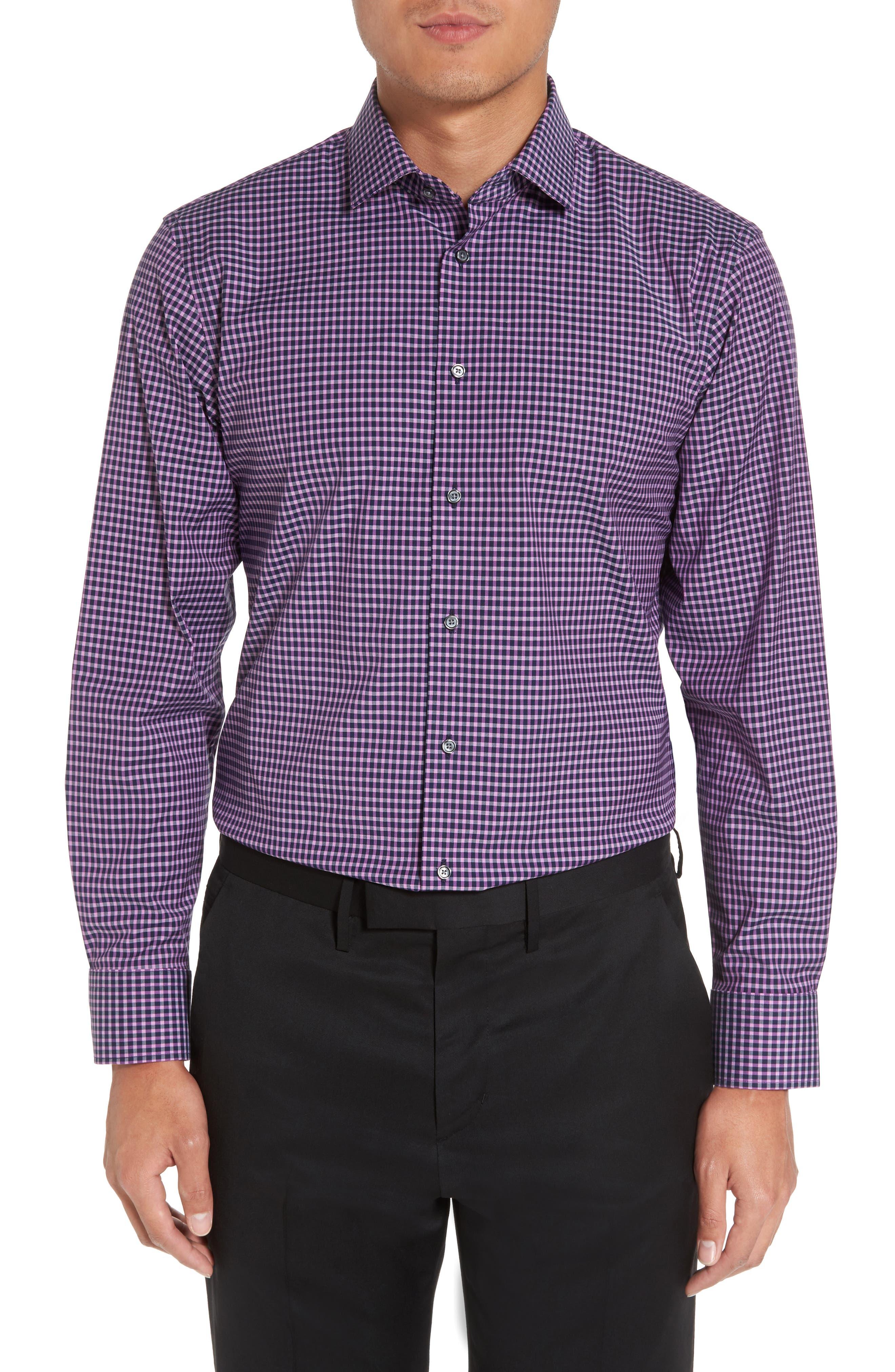 Trim Fit Non-Iron Check Stretch Dress Shirt,                             Main thumbnail 1, color,