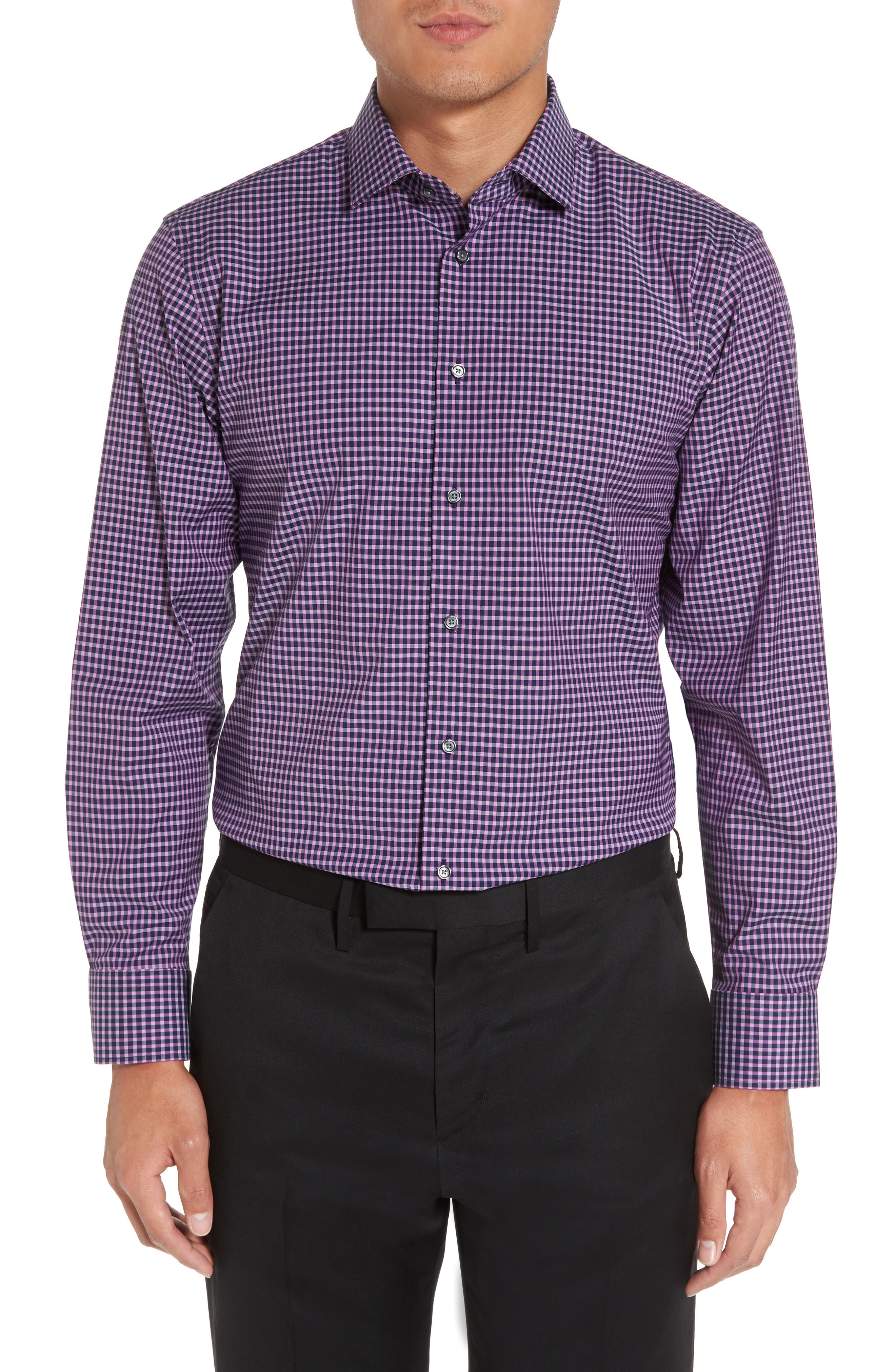 Trim Fit Non-Iron Check Stretch Dress Shirt,                         Main,                         color,