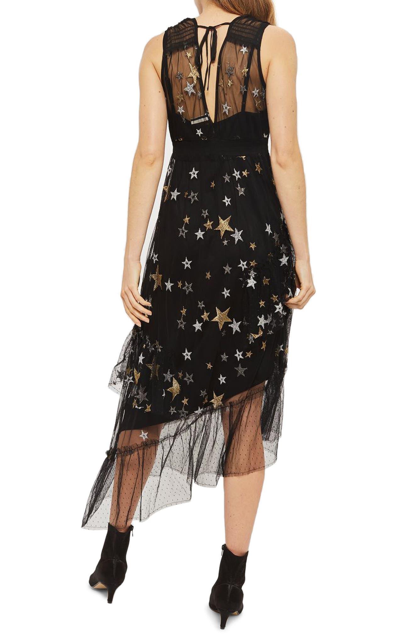 Star Print Asymmetrical Midi Dress,                             Alternate thumbnail 2, color,