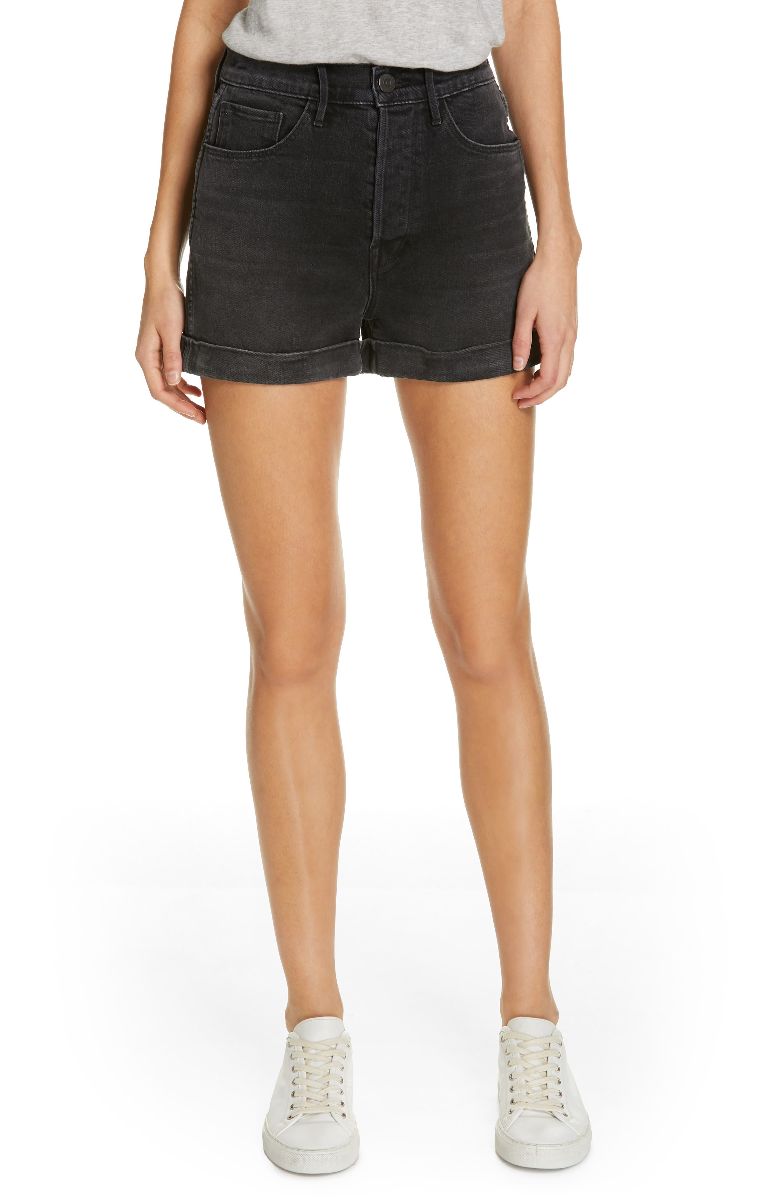 Eden Denim Shorts, Main, color, KURO STONE