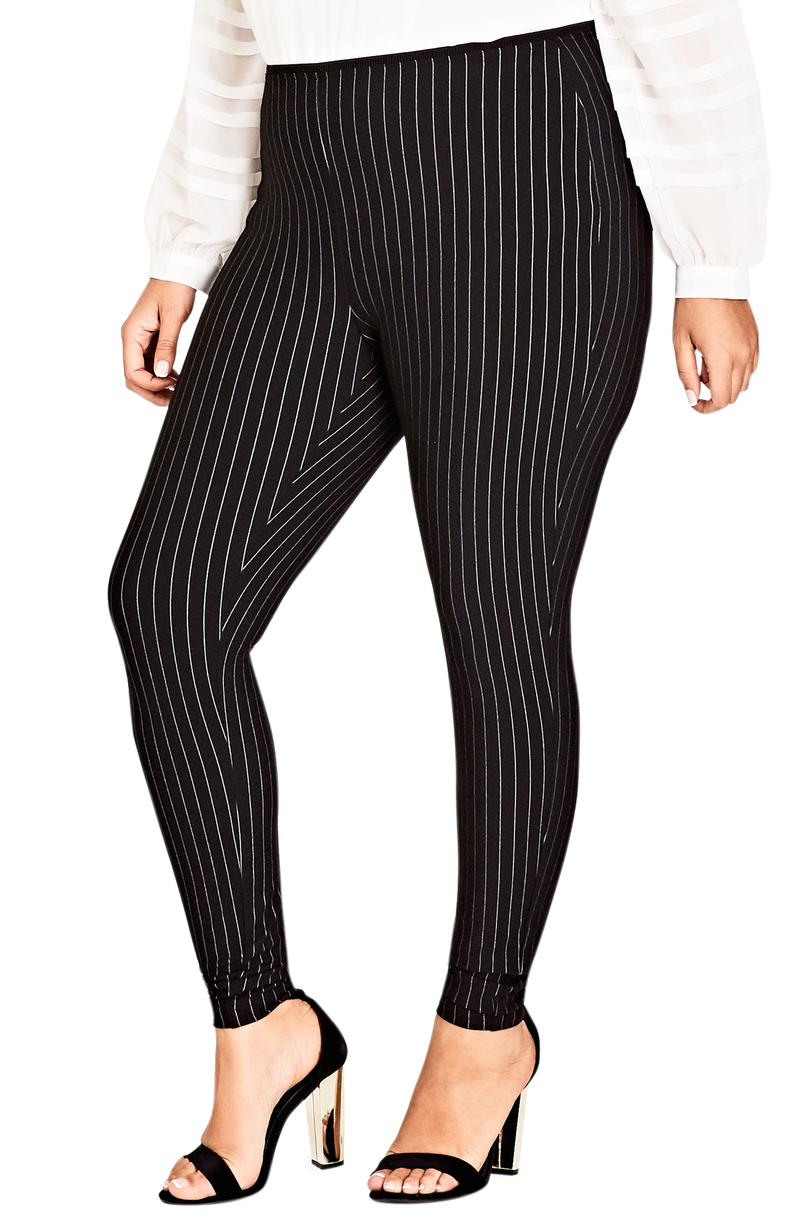 CITY CHIC,                             Chic City Simply Striped Skinny Pants,                             Main thumbnail 1, color,                             001