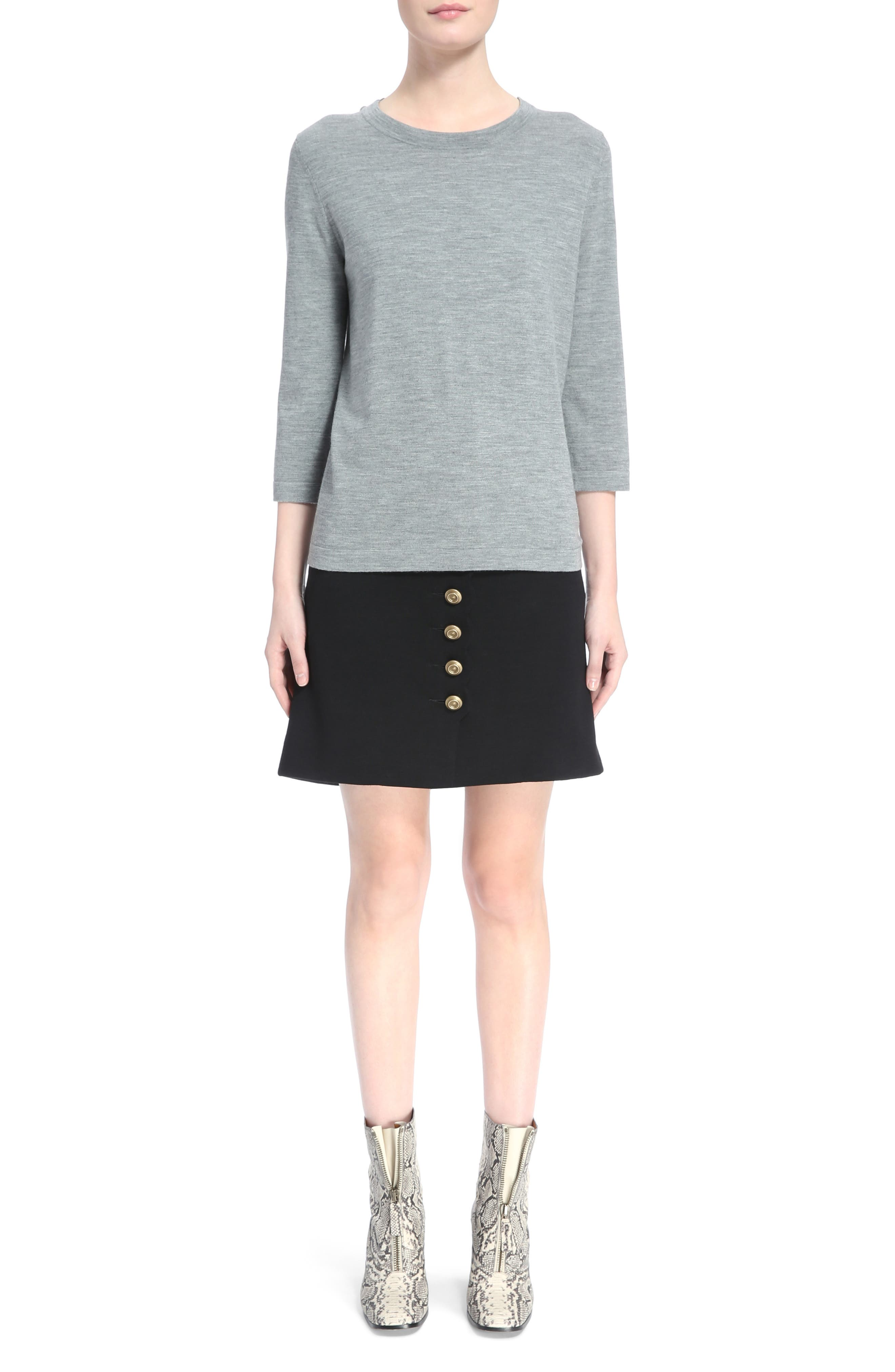 Button Shoulder Wool Sweater,                             Alternate thumbnail 6, color,                             030