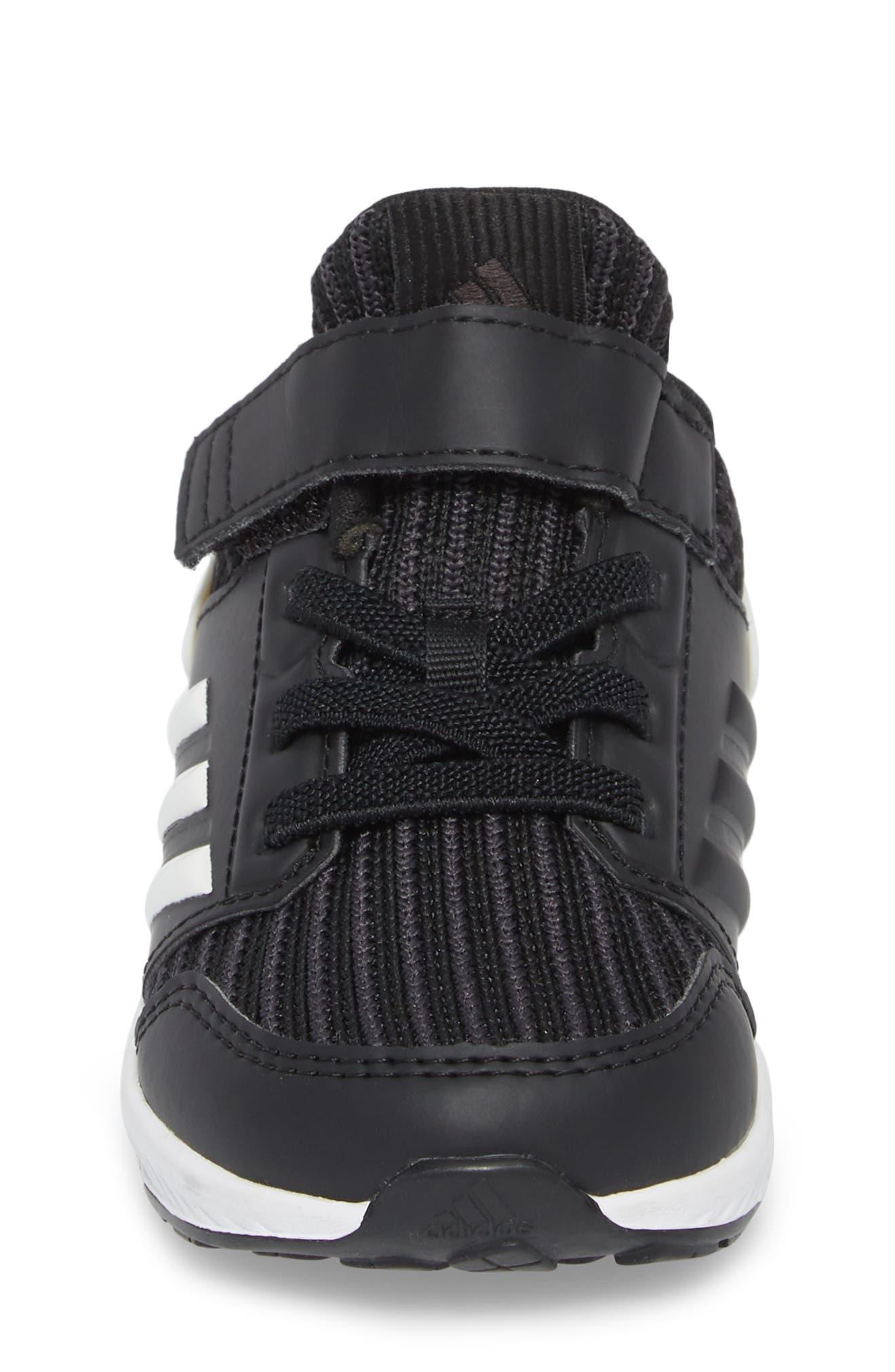 RapidaRun Knit Sneaker,                             Alternate thumbnail 4, color,                             BLACK/ WHITE