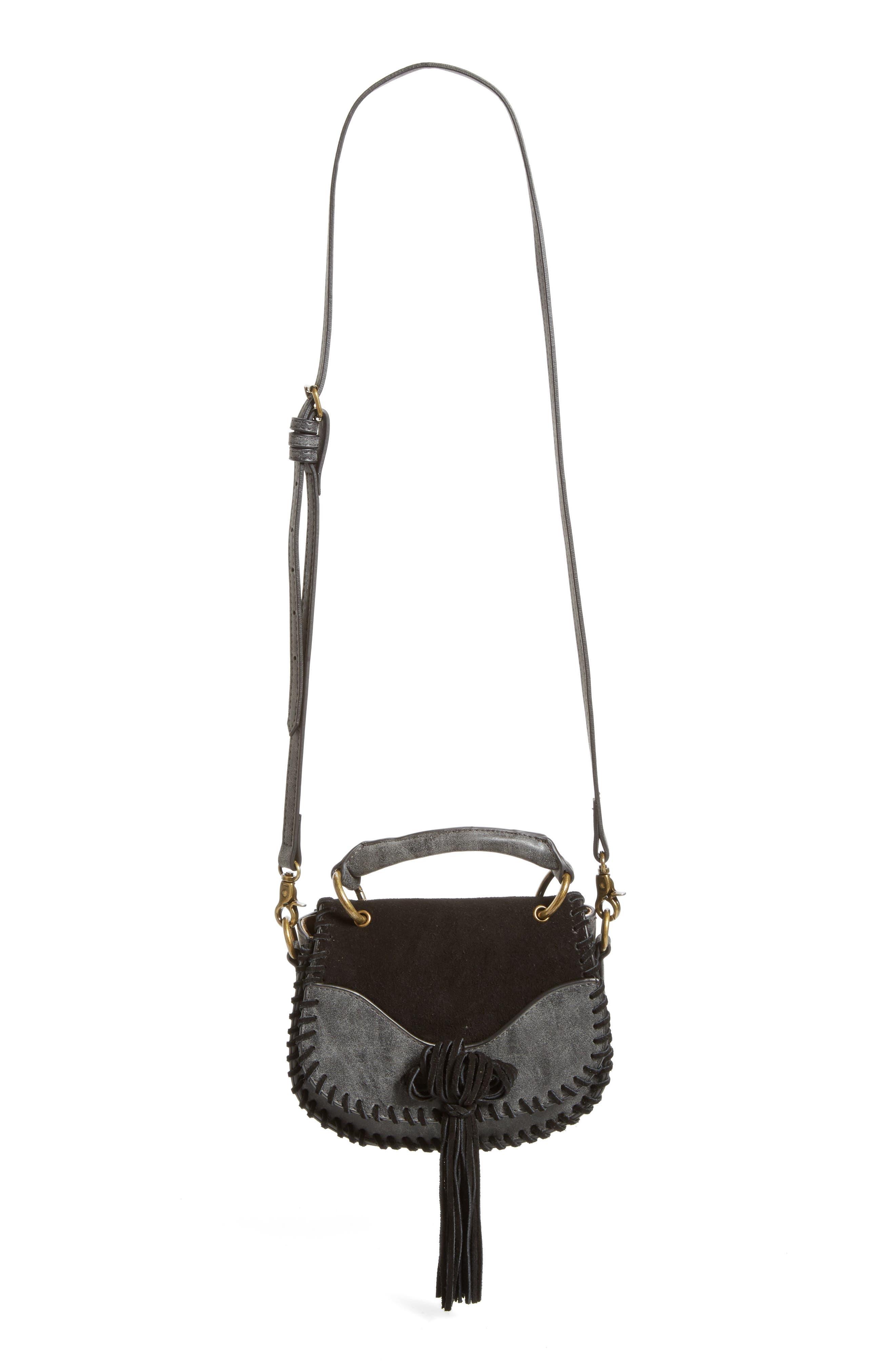 Mini Madrid Faux Leather Top Handle Saddle Bag,                             Main thumbnail 1, color,                             001