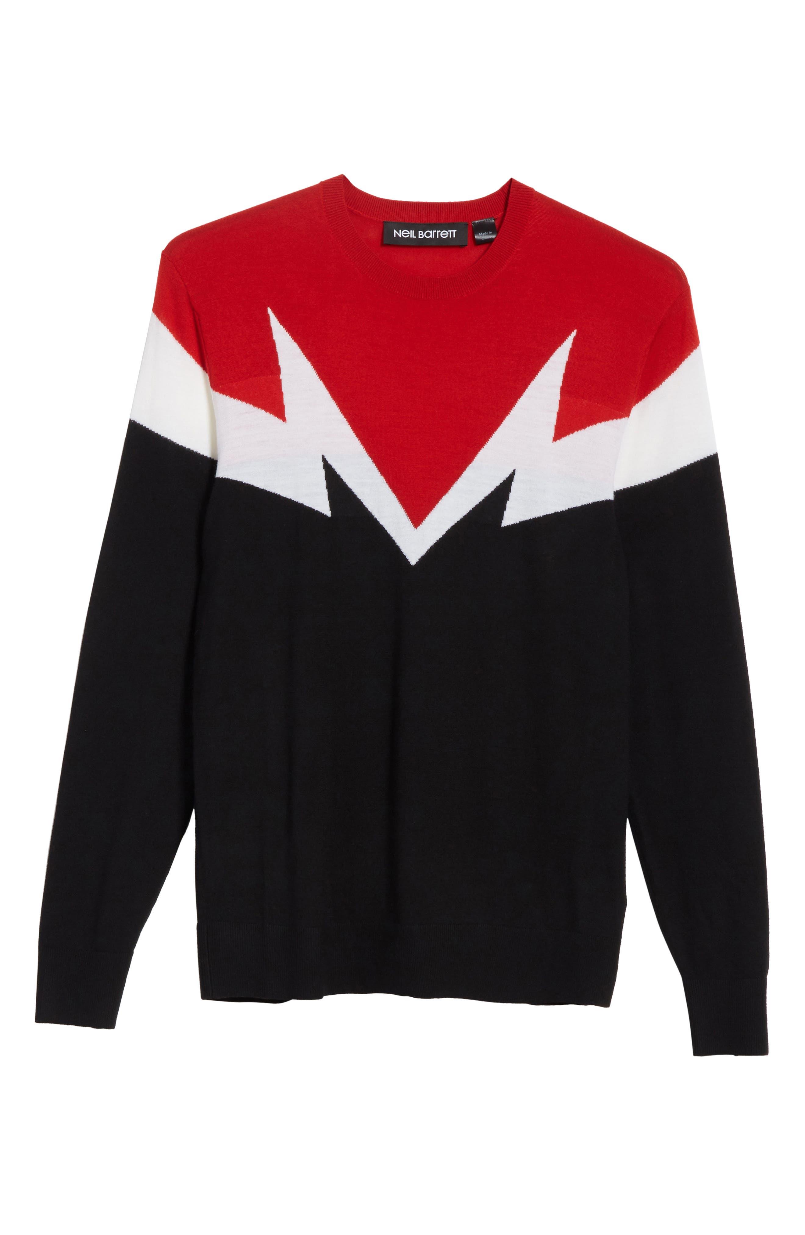 Colorblock Thunderbolt Merino Wool Sweater,                             Alternate thumbnail 6, color,