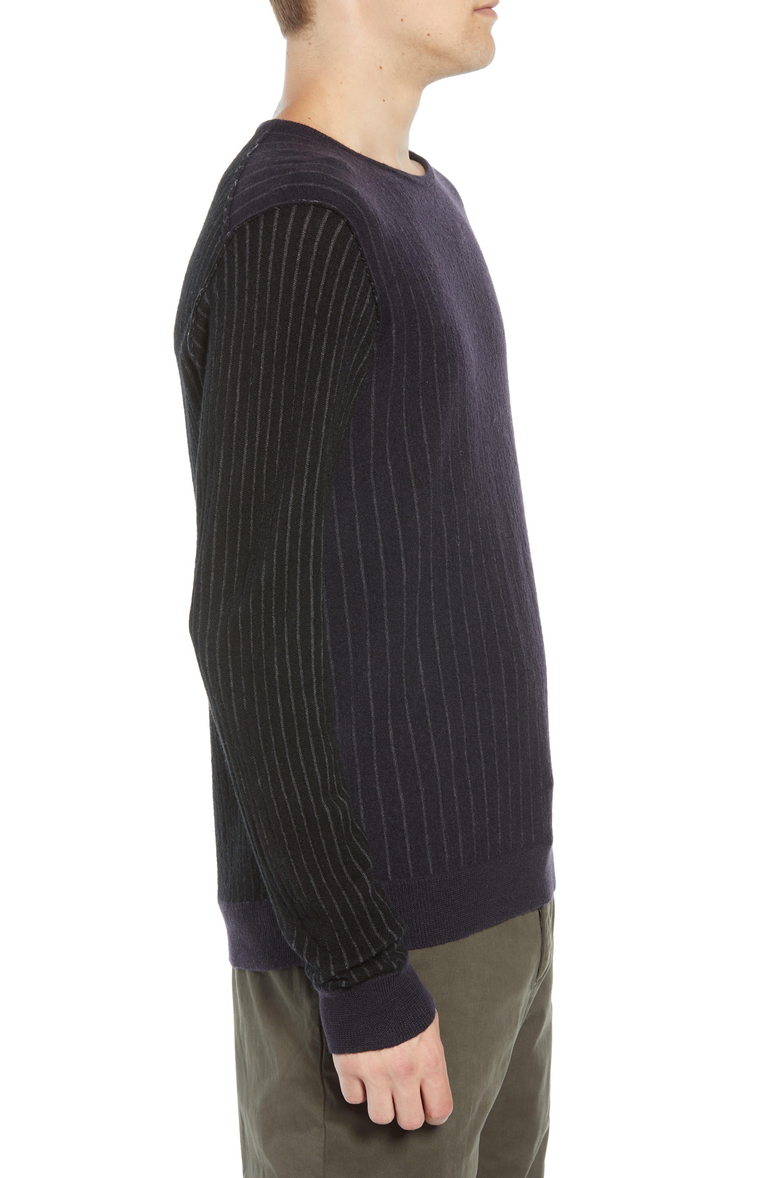 Boiled Wool Blend Crewneck Sweater,                             Alternate thumbnail 3, color,                             MULTI STRIPE