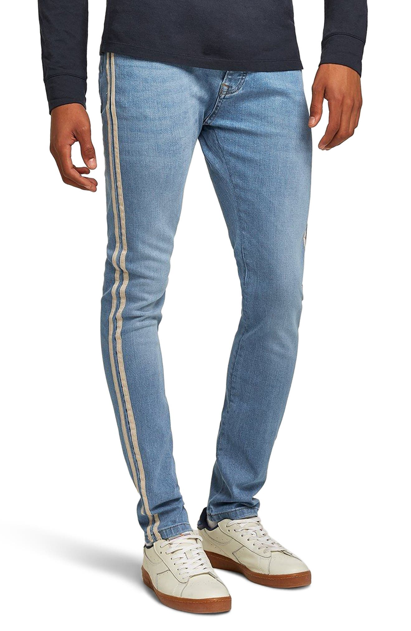 Tape Stretch Skinny Fit Jeans,                             Main thumbnail 1, color,                             BLUE