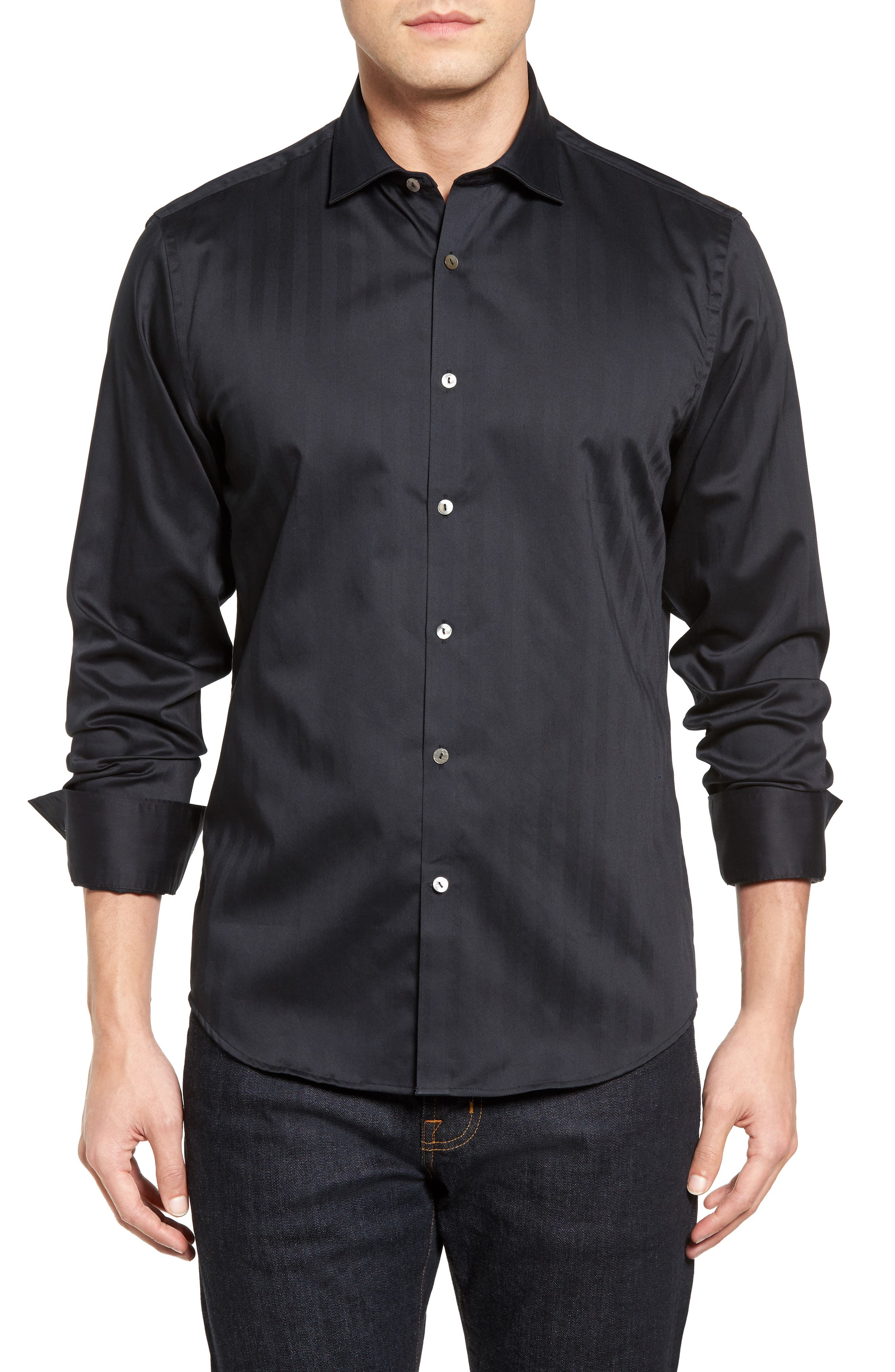 Herringbone Stripe Sport Shirt,                         Main,                         color, BLACK