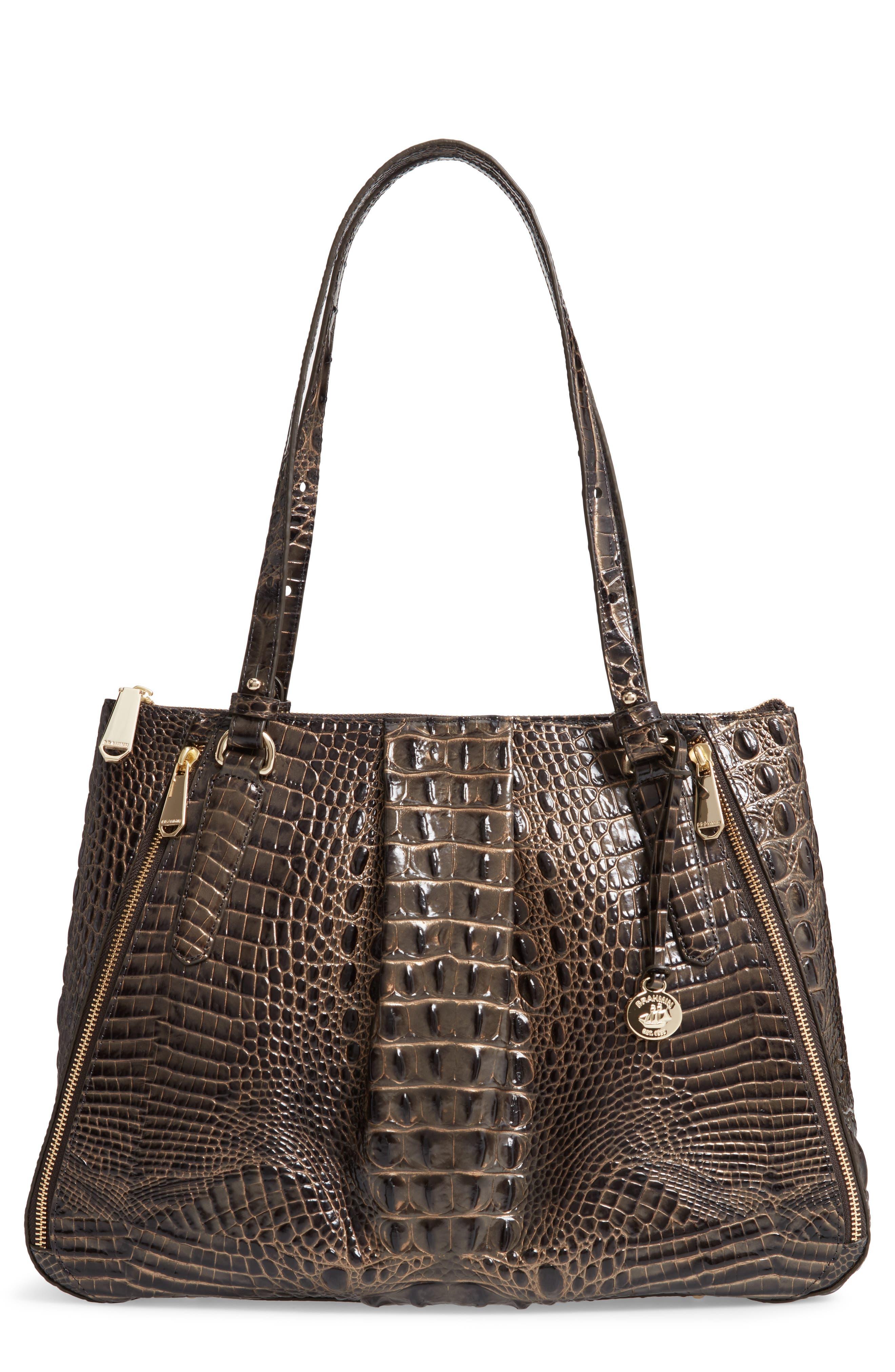 Melbourne - Adina Croc Embossed Leather Satchel,                         Main,                         color, GRAPHITE