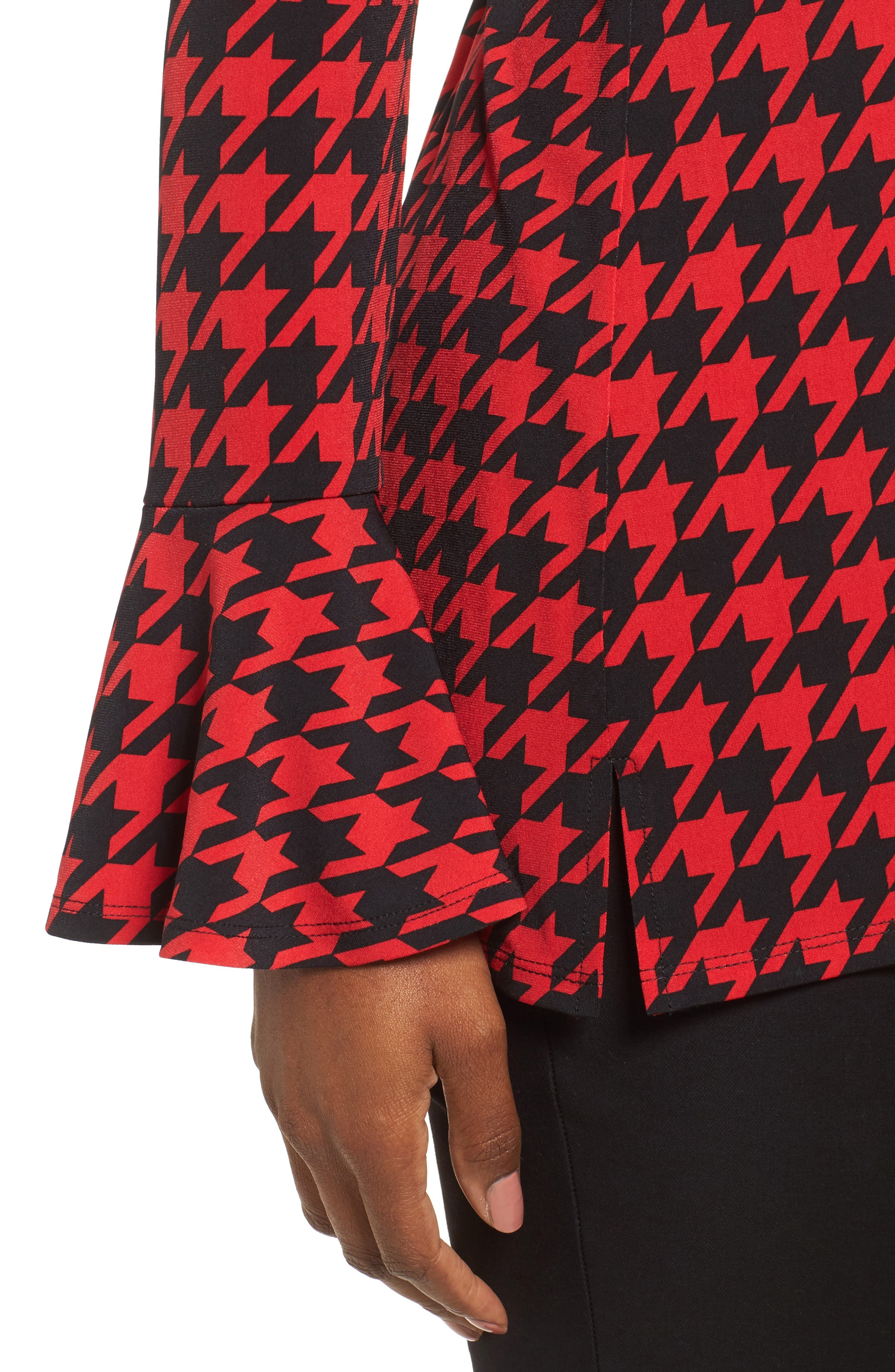 Houndstooth Trumpet Sleeve Top,                             Alternate thumbnail 4, color,