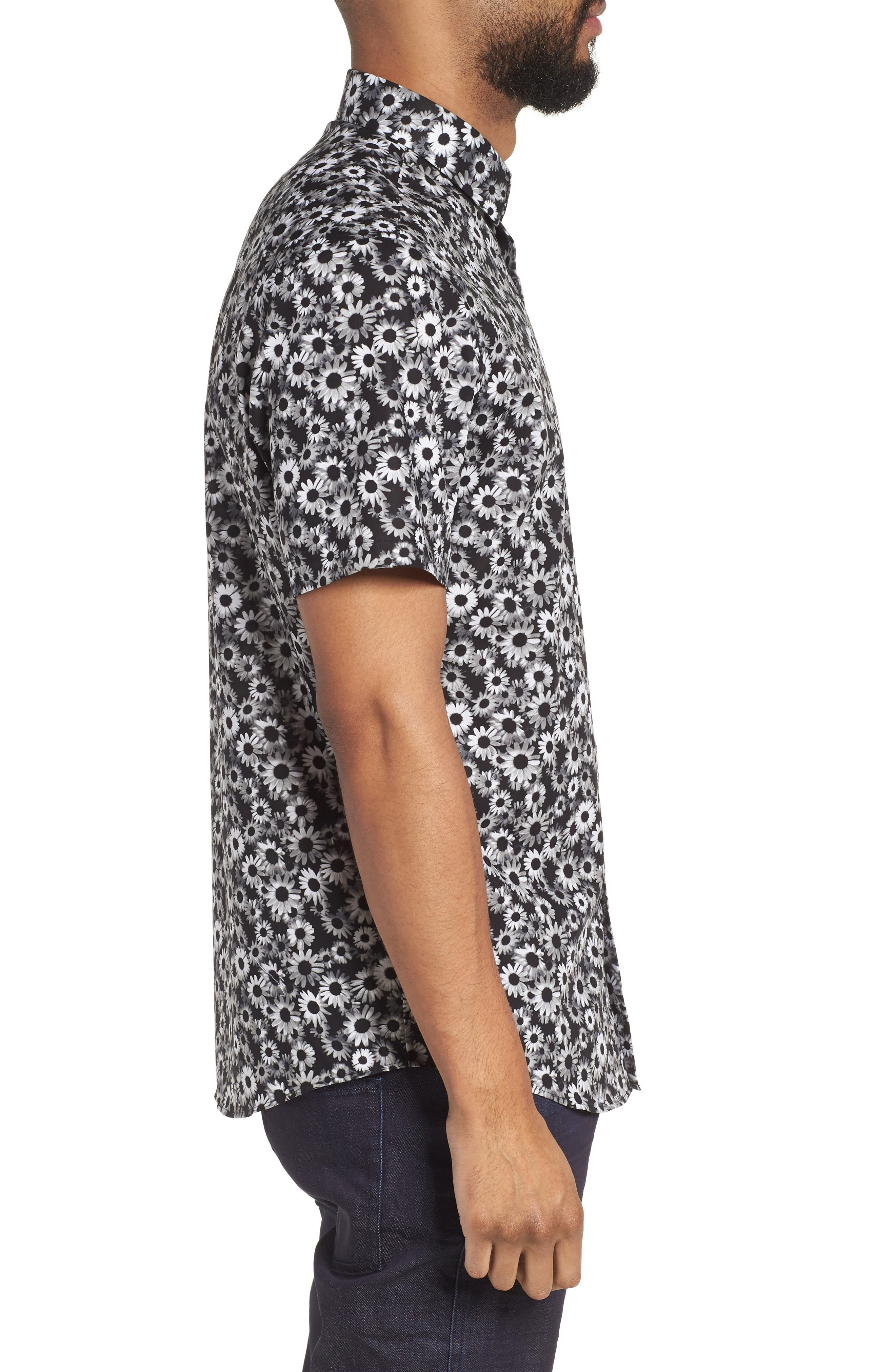 Floral Sport Shirt,                             Alternate thumbnail 3, color,                             BLACK WHITE DAISY FLORAL