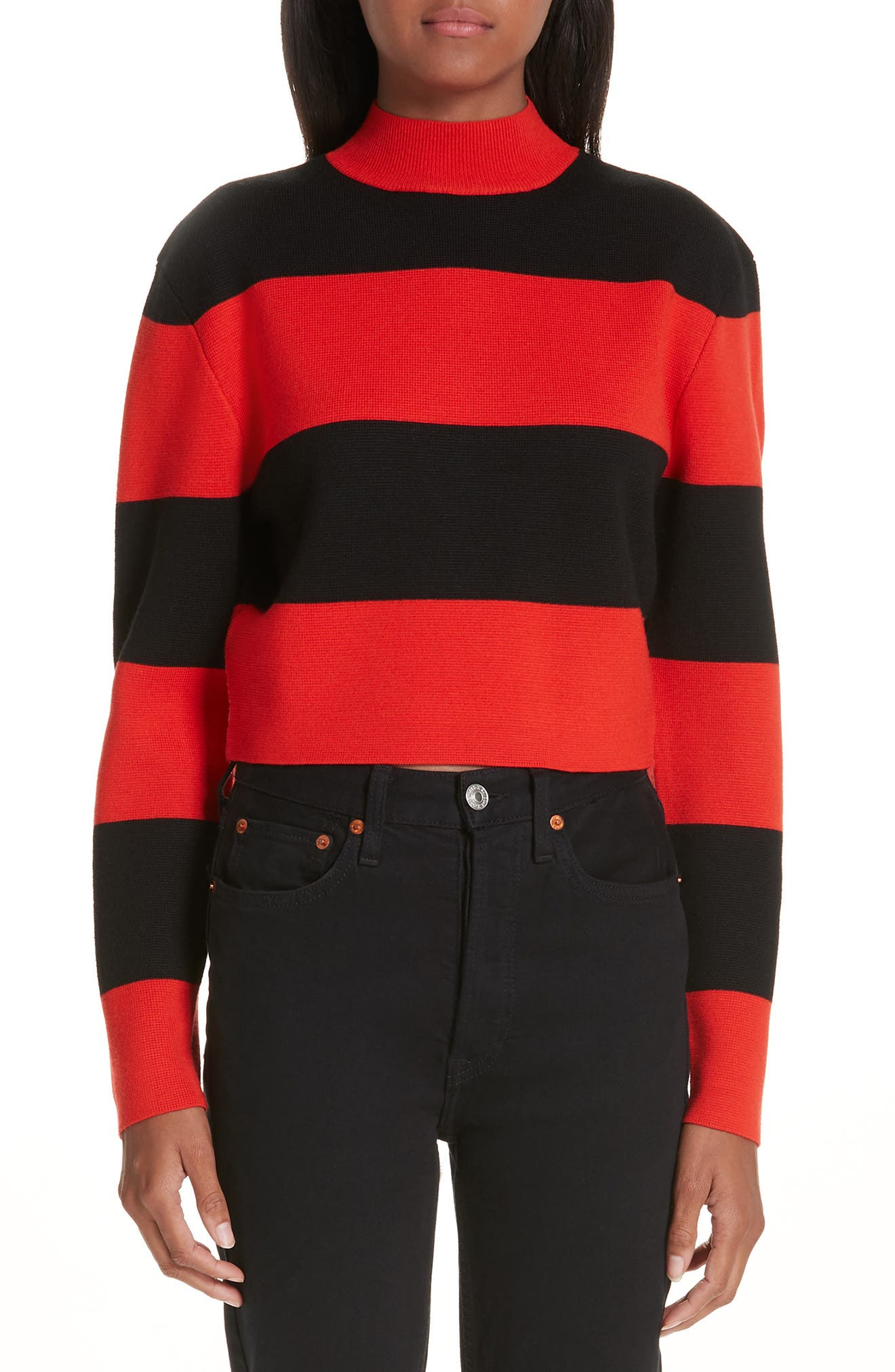 VICTOR GLEMAUD Stripe Wool Sweater in Red And Black Combo