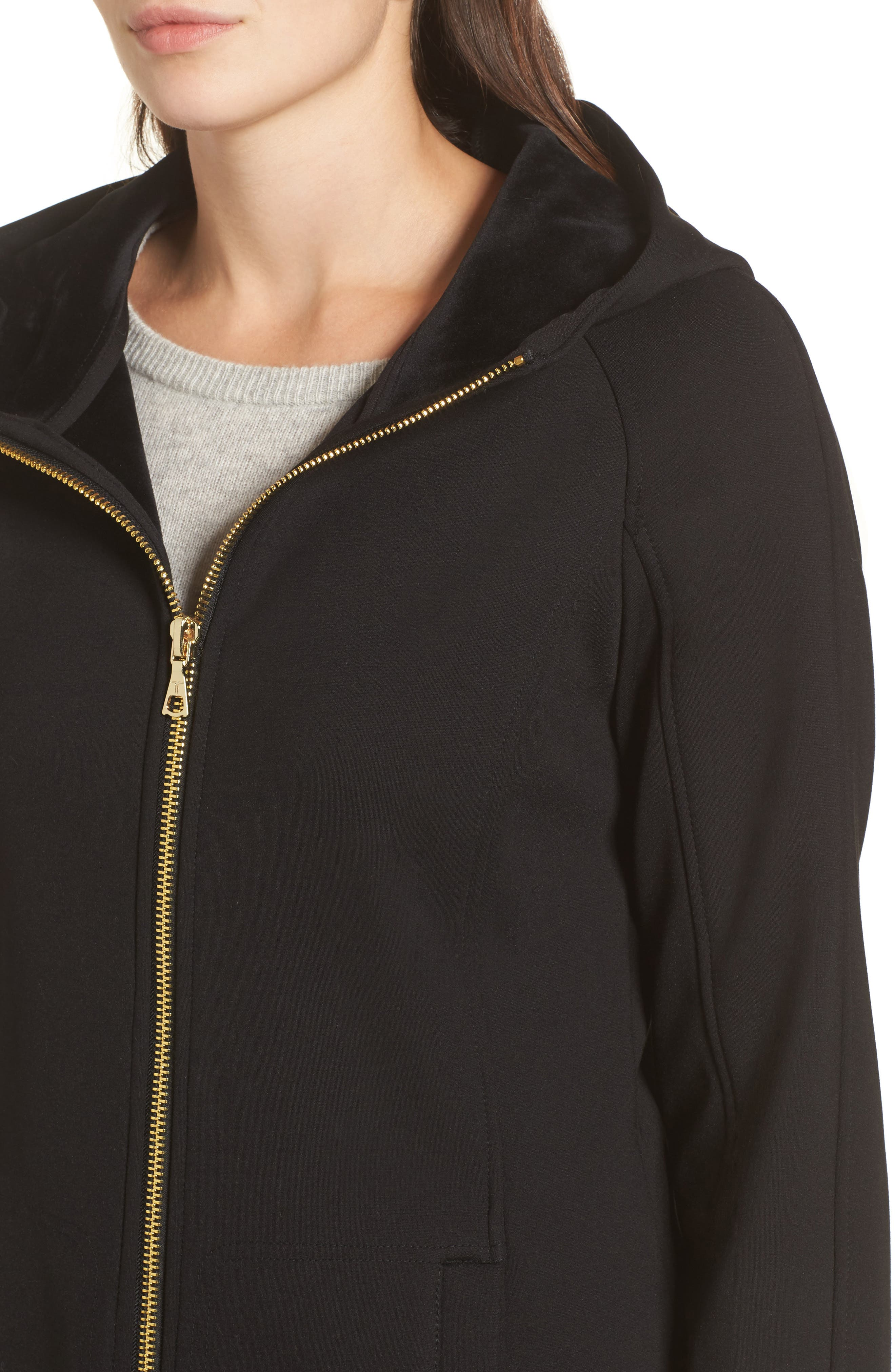 Willow Water-Resistant Hooded Coat,                             Alternate thumbnail 4, color,                             001