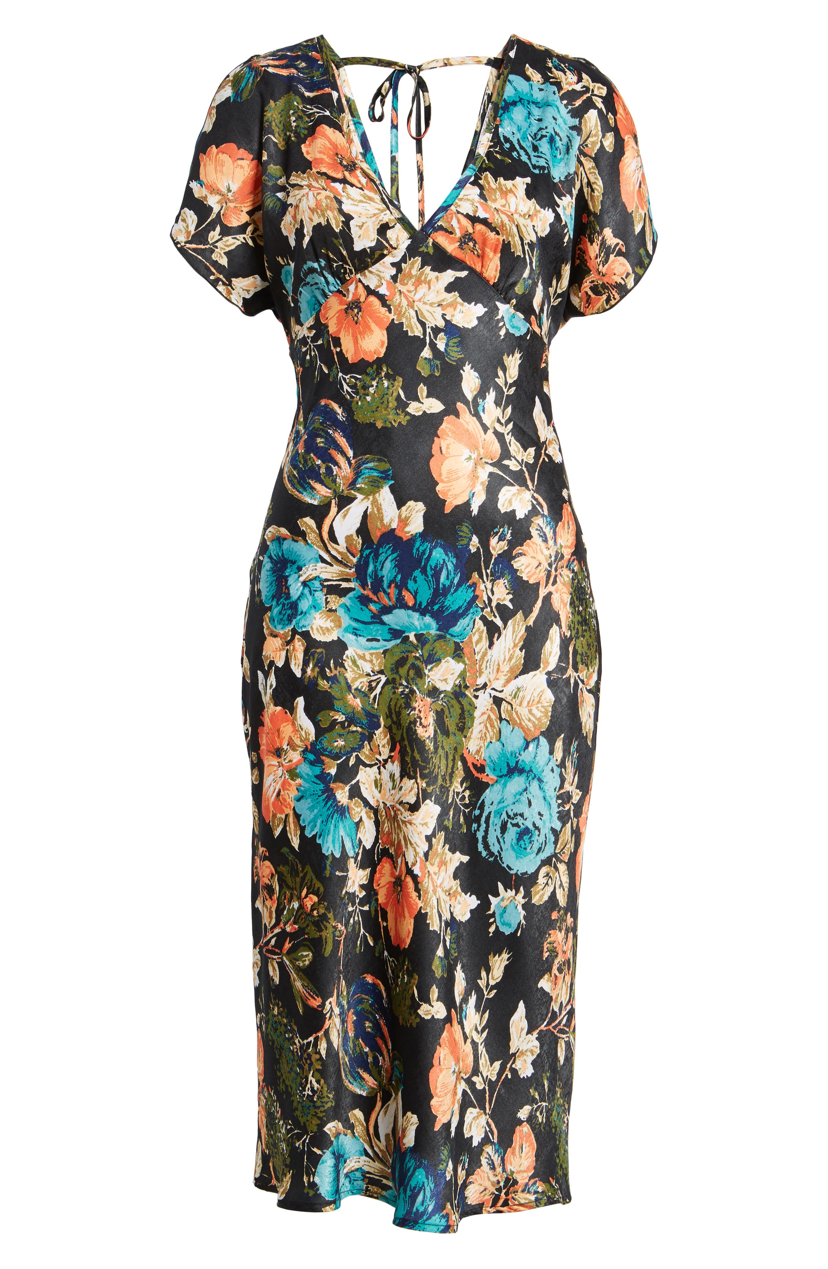 Peony Floral Midi Dress,                             Alternate thumbnail 6, color,                             007