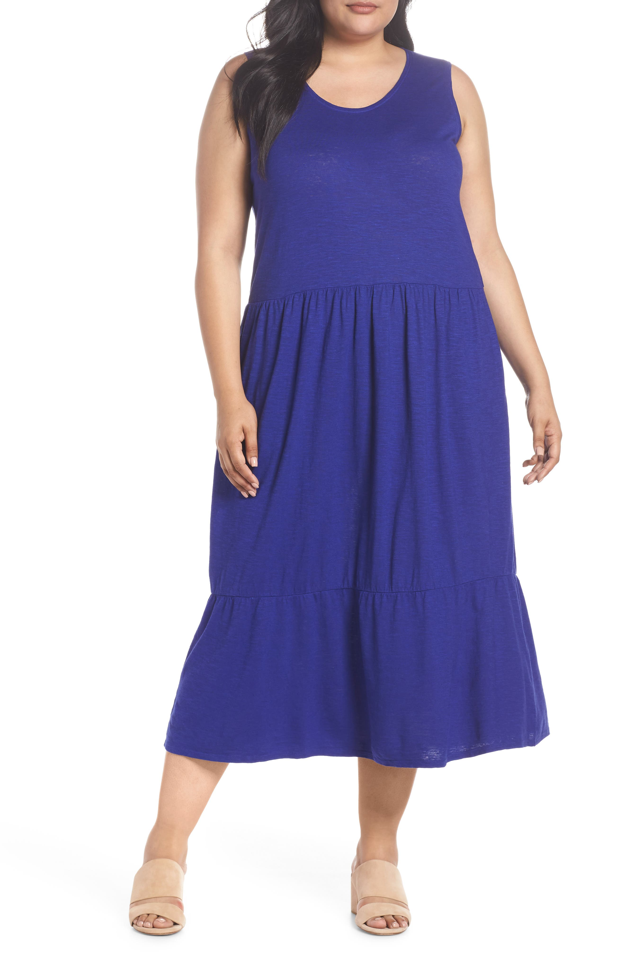 Scooped Neck Hemp & Cotton Midi Dress,                         Main,                         color, BLUE VIOLET