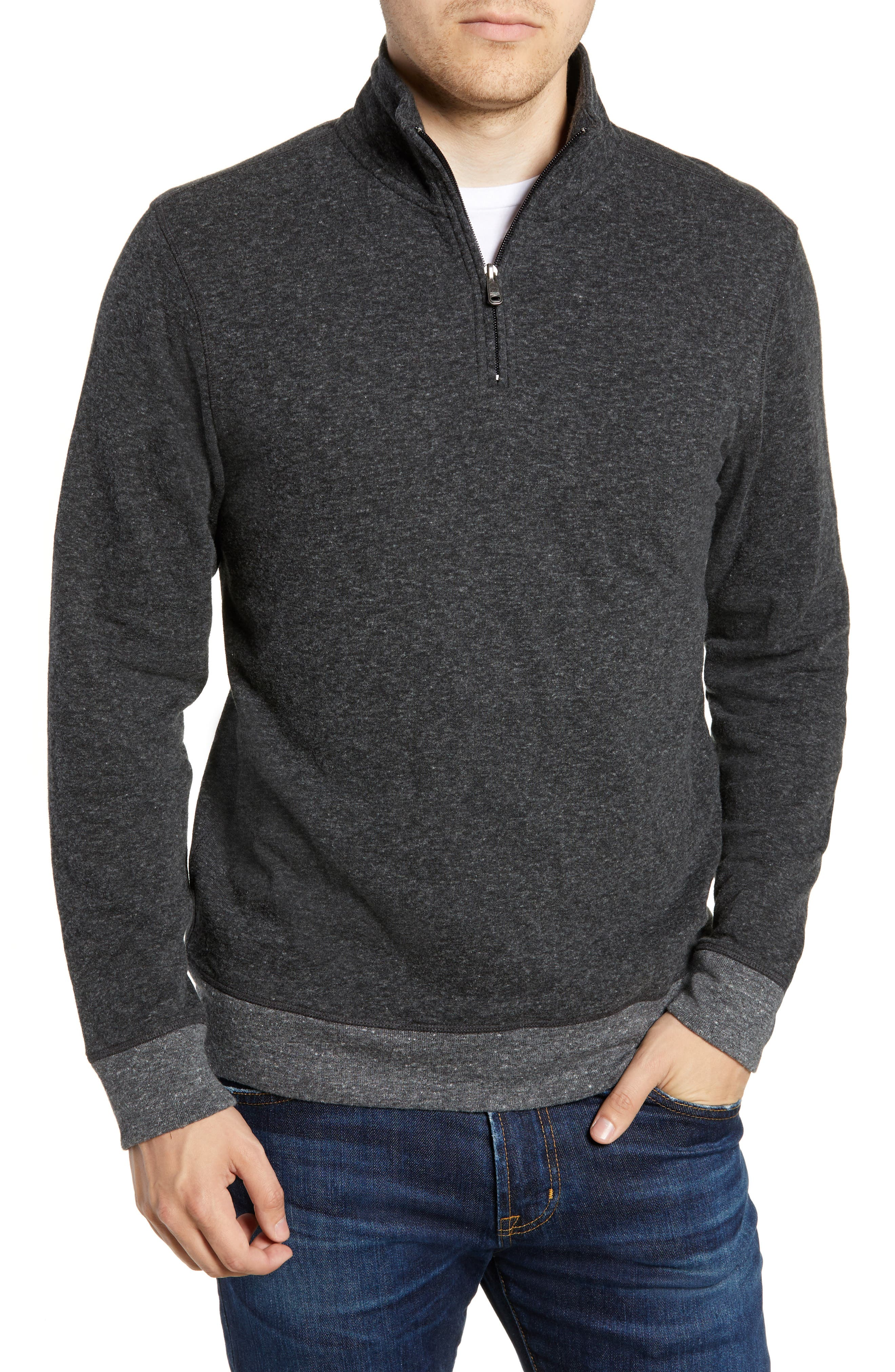 Dual Knit Regular Fit Quarter Zip Pullover,                             Main thumbnail 1, color,                             WASHED BLACK