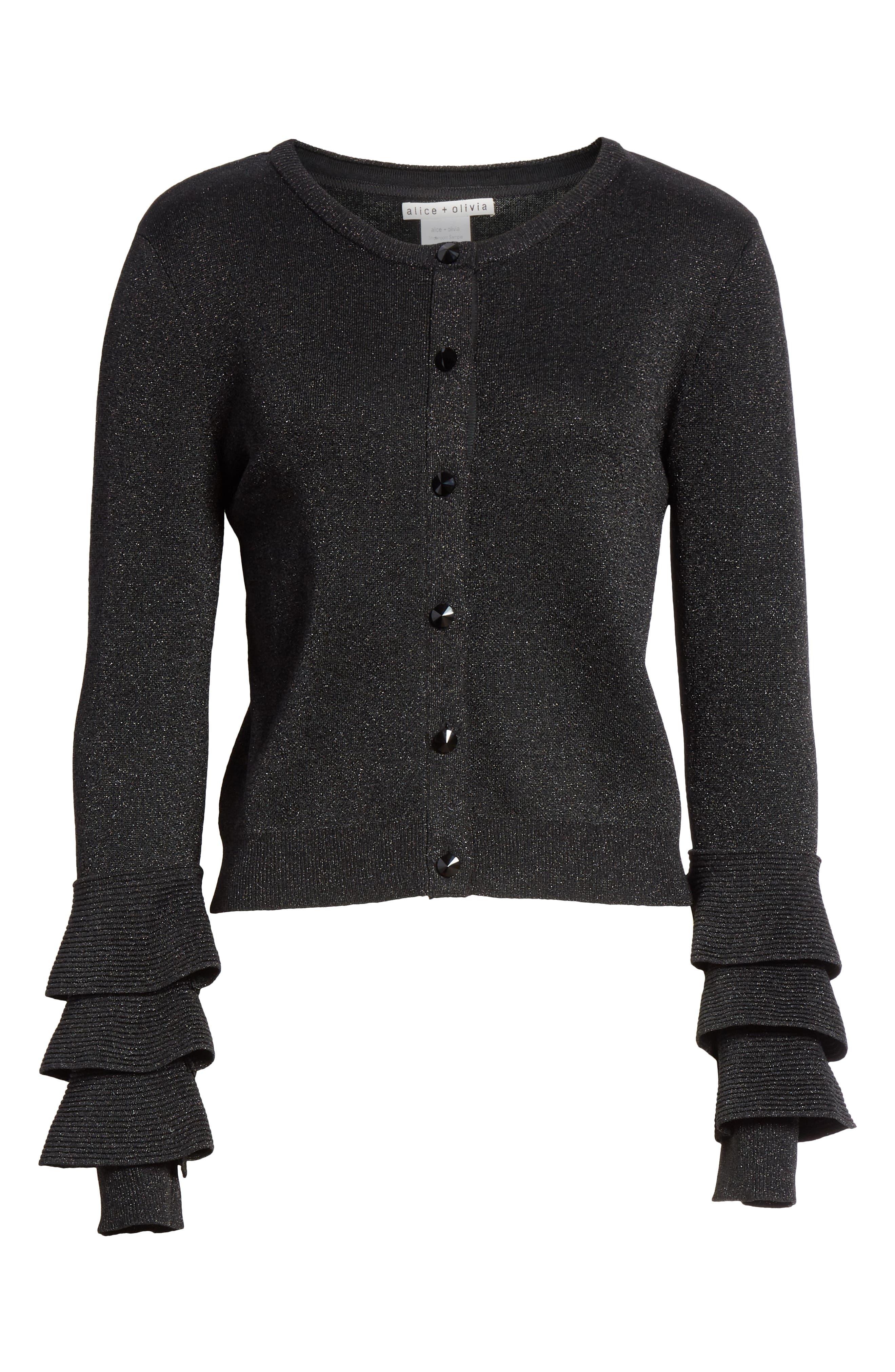 Ruthy Ruffle Cuff Sparkle Wool Blend Cardigan,                             Alternate thumbnail 6, color,                             BLACK METALLIC