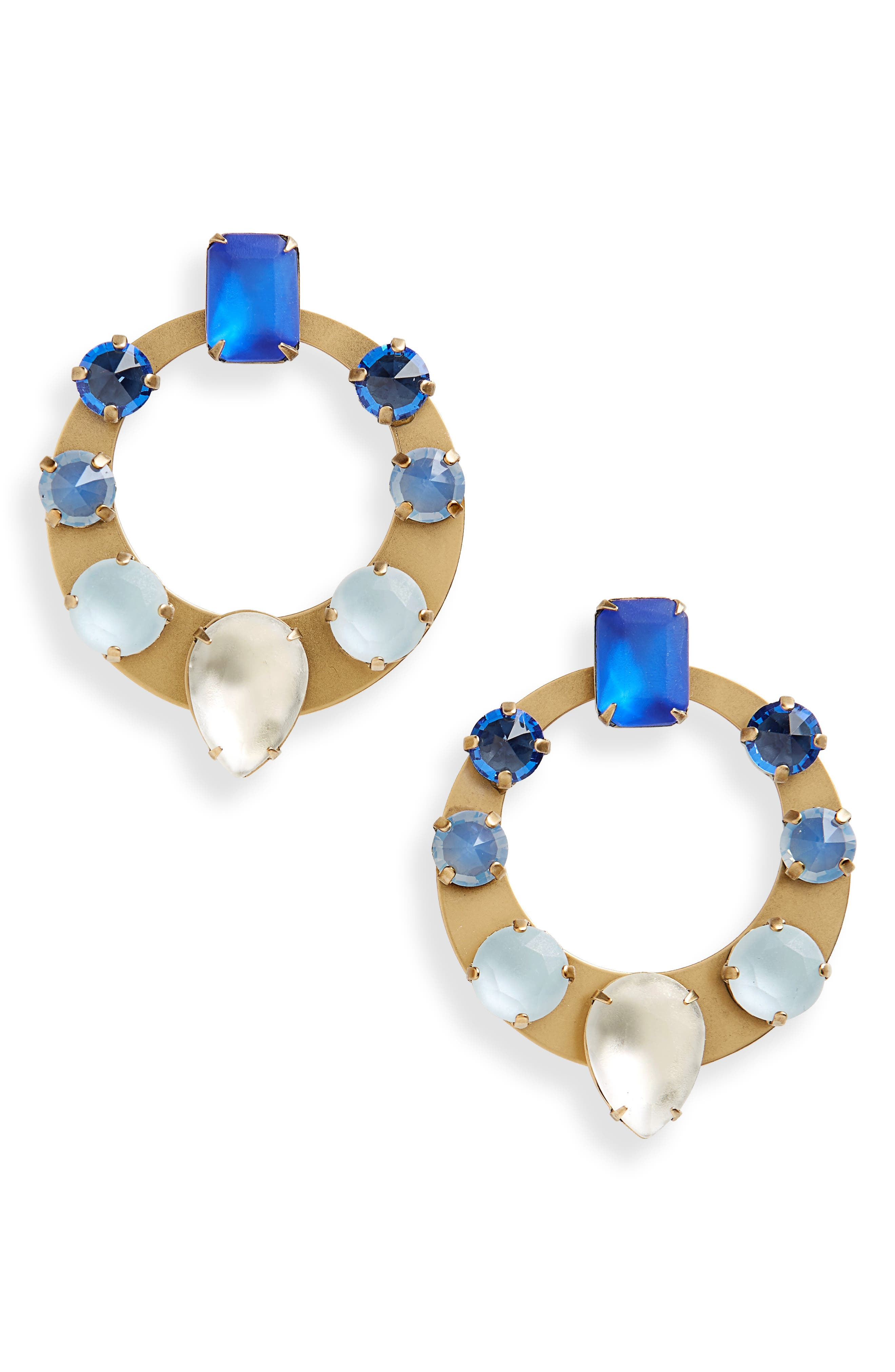 Frontal Hoop Earrings,                             Main thumbnail 1, color,                             BLUE MULTI
