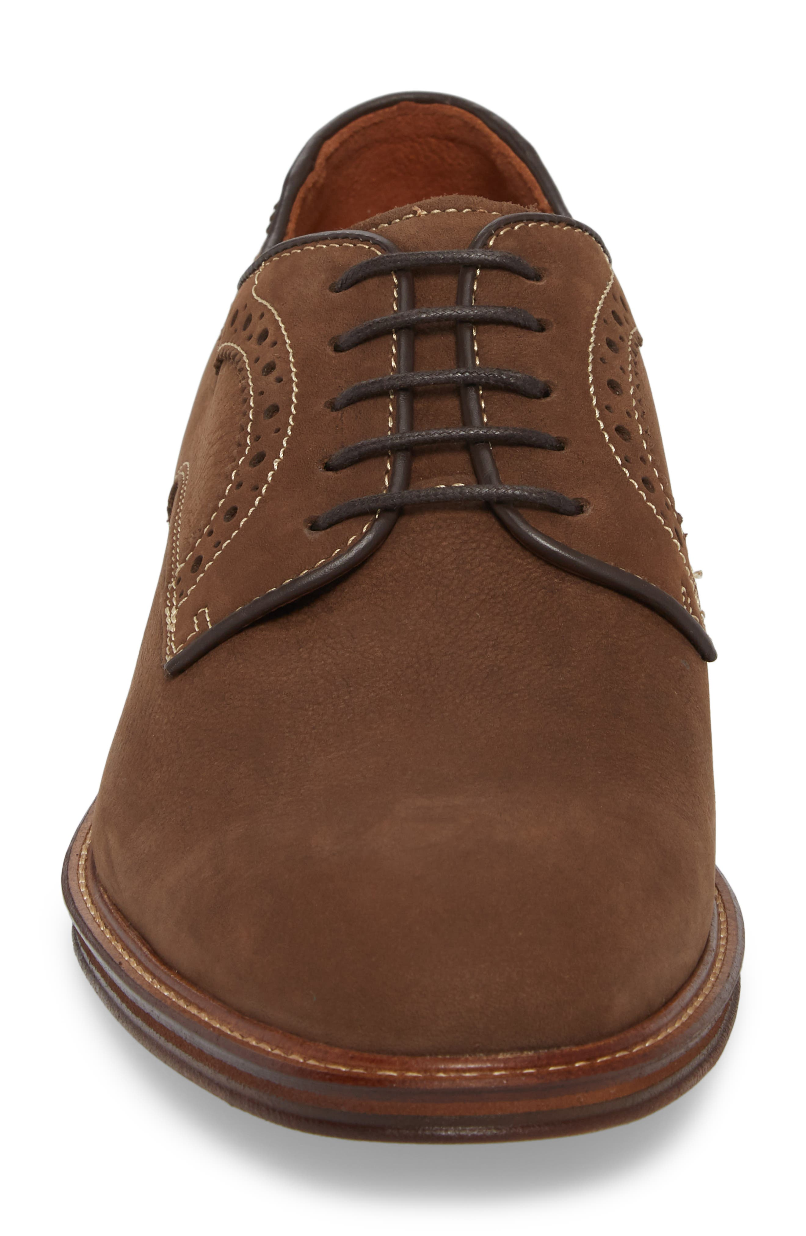 Warner Plain Toe Derby,                             Alternate thumbnail 4, color,                             BROWN NUBUCK