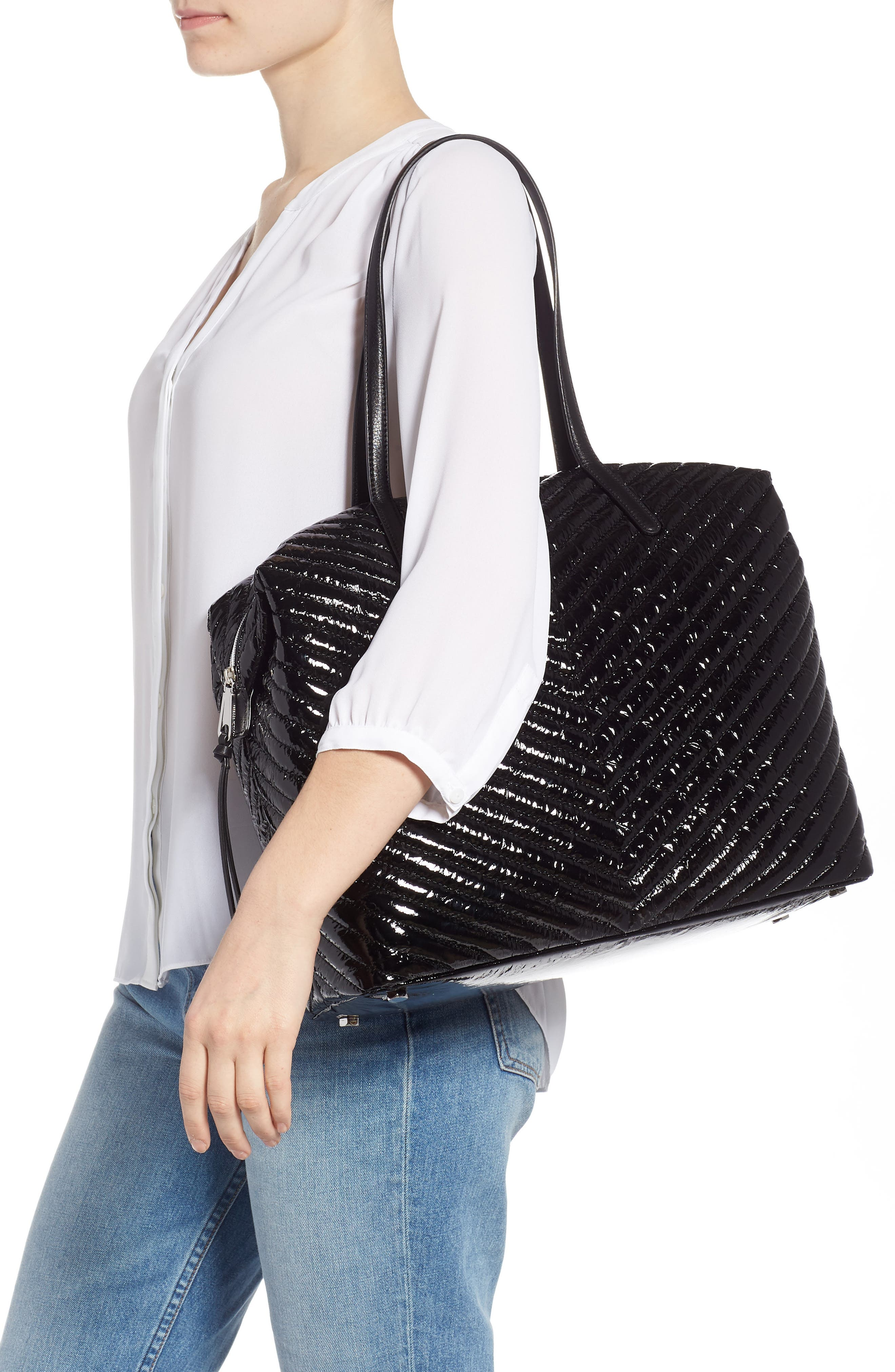 Quilted Nylon Tote,                             Alternate thumbnail 2, color,                             BLACK